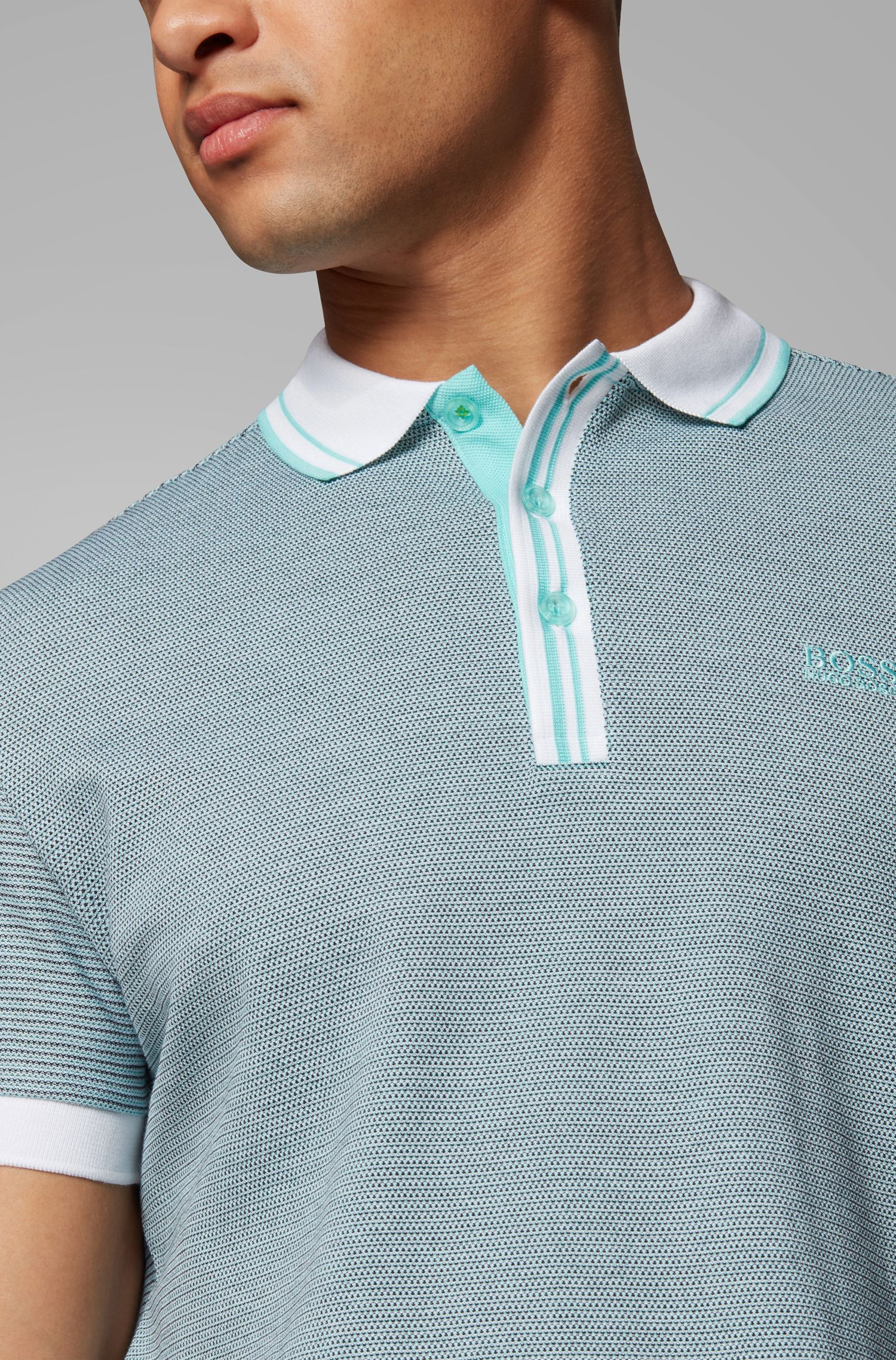 Regular-fit polo shirt with striped collar and placket, Open Green