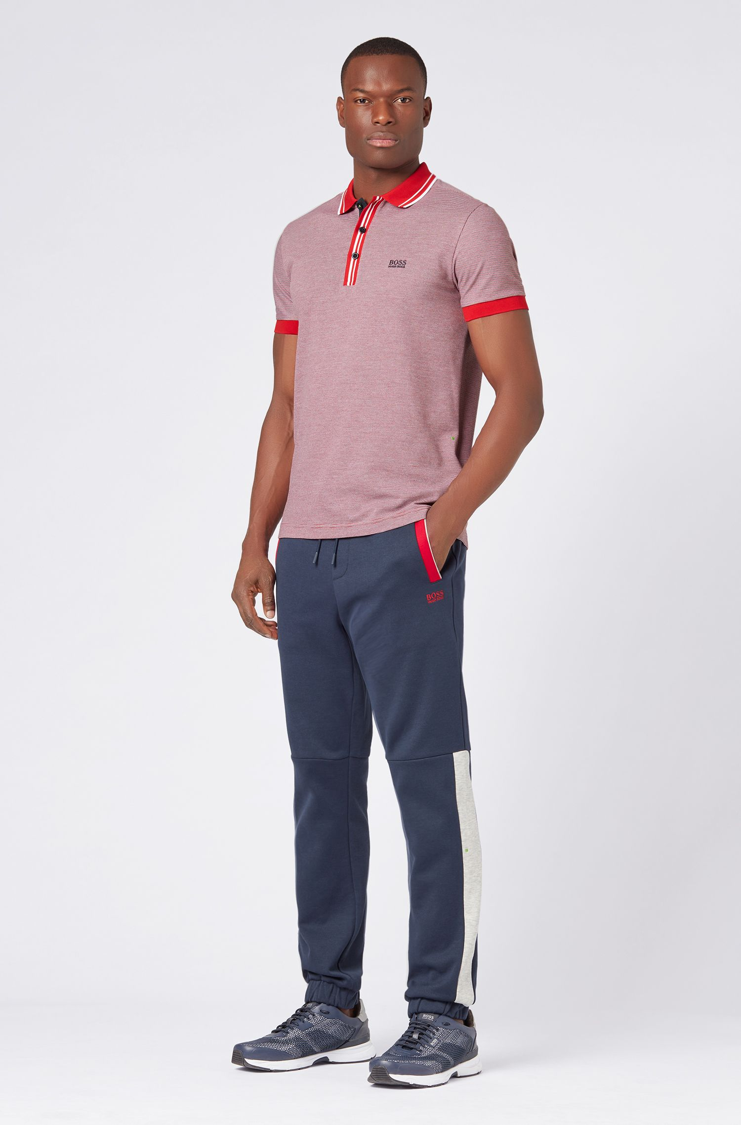 Regular-fit polo shirt with striped collar and placket, Dark Blue