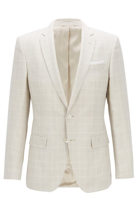 24b2973f18 Slim-fit jacket in a check linen-wool blend, Natural