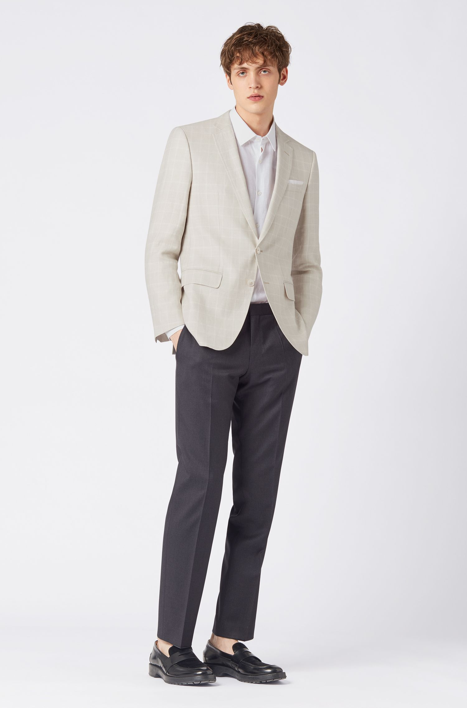 Slim-fit jacket in a check linen-wool blend, Natural