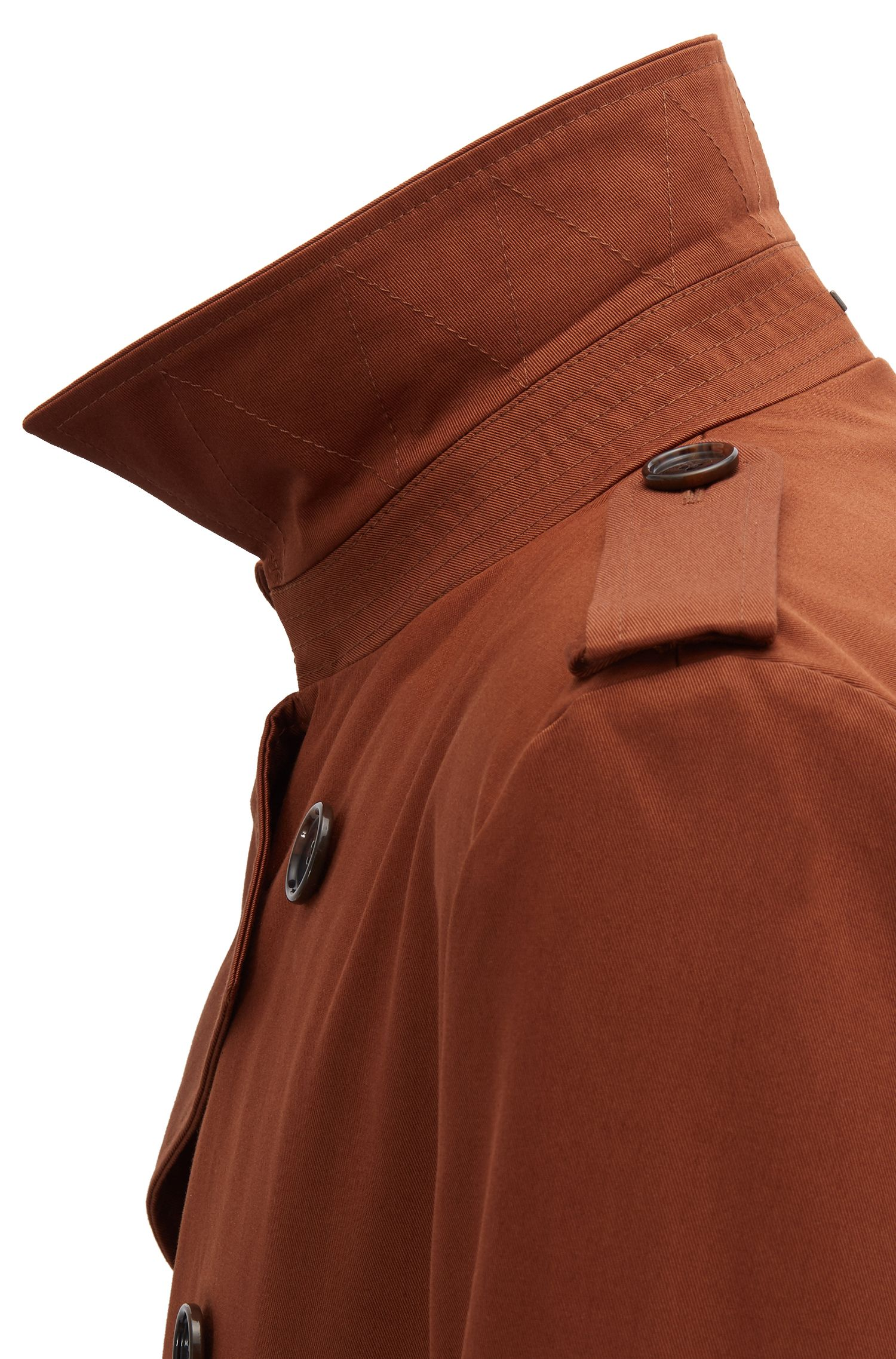 Double-breasted trench coat in water-repellent cotton, Brown