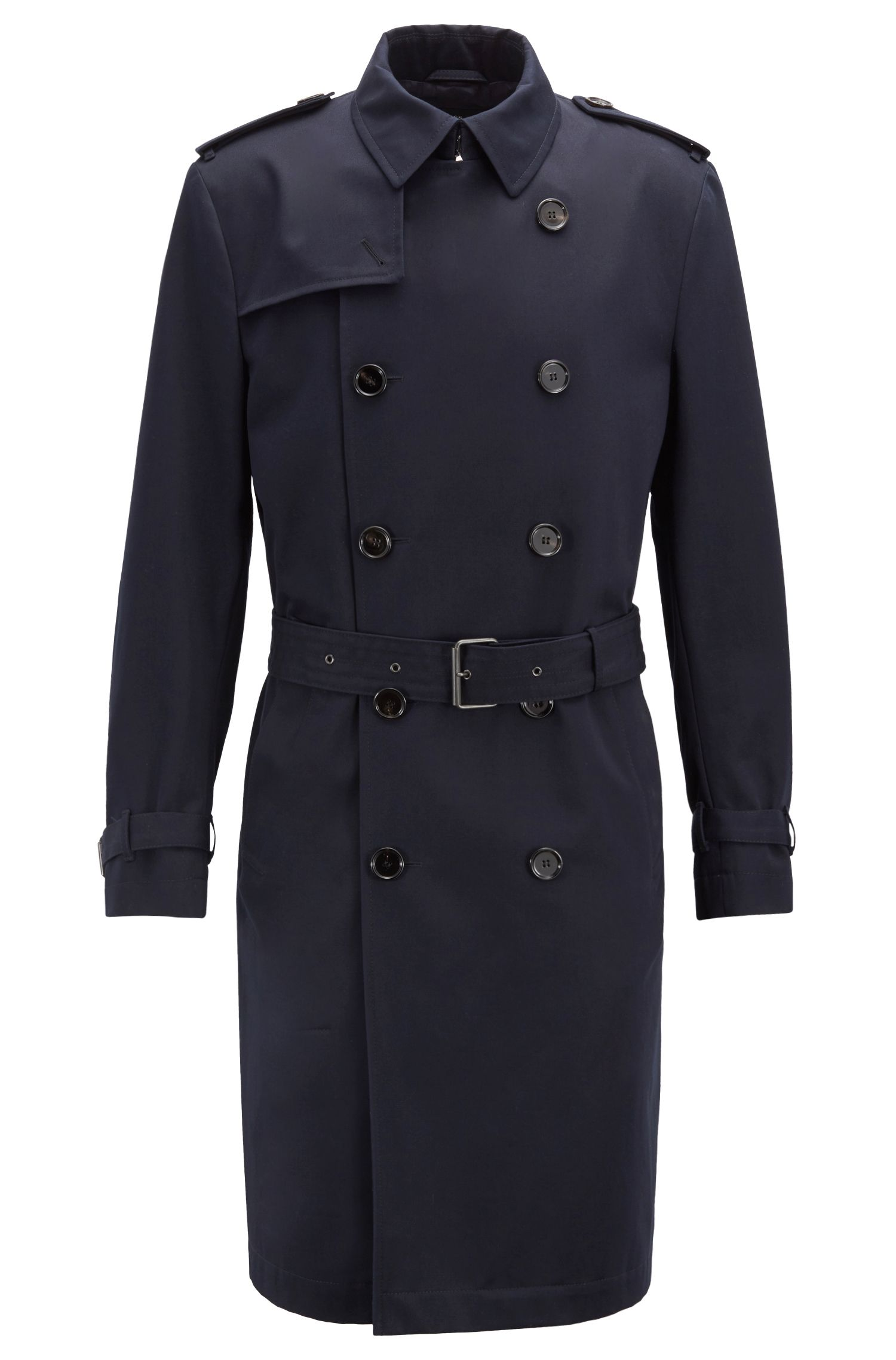 Double-breasted trench coat in water-repellent cotton, Open Blue