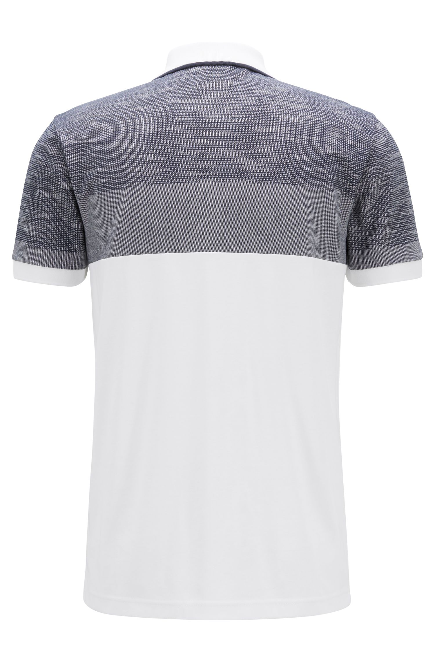 Slim-fit polo shirt with overprinted stripe, White