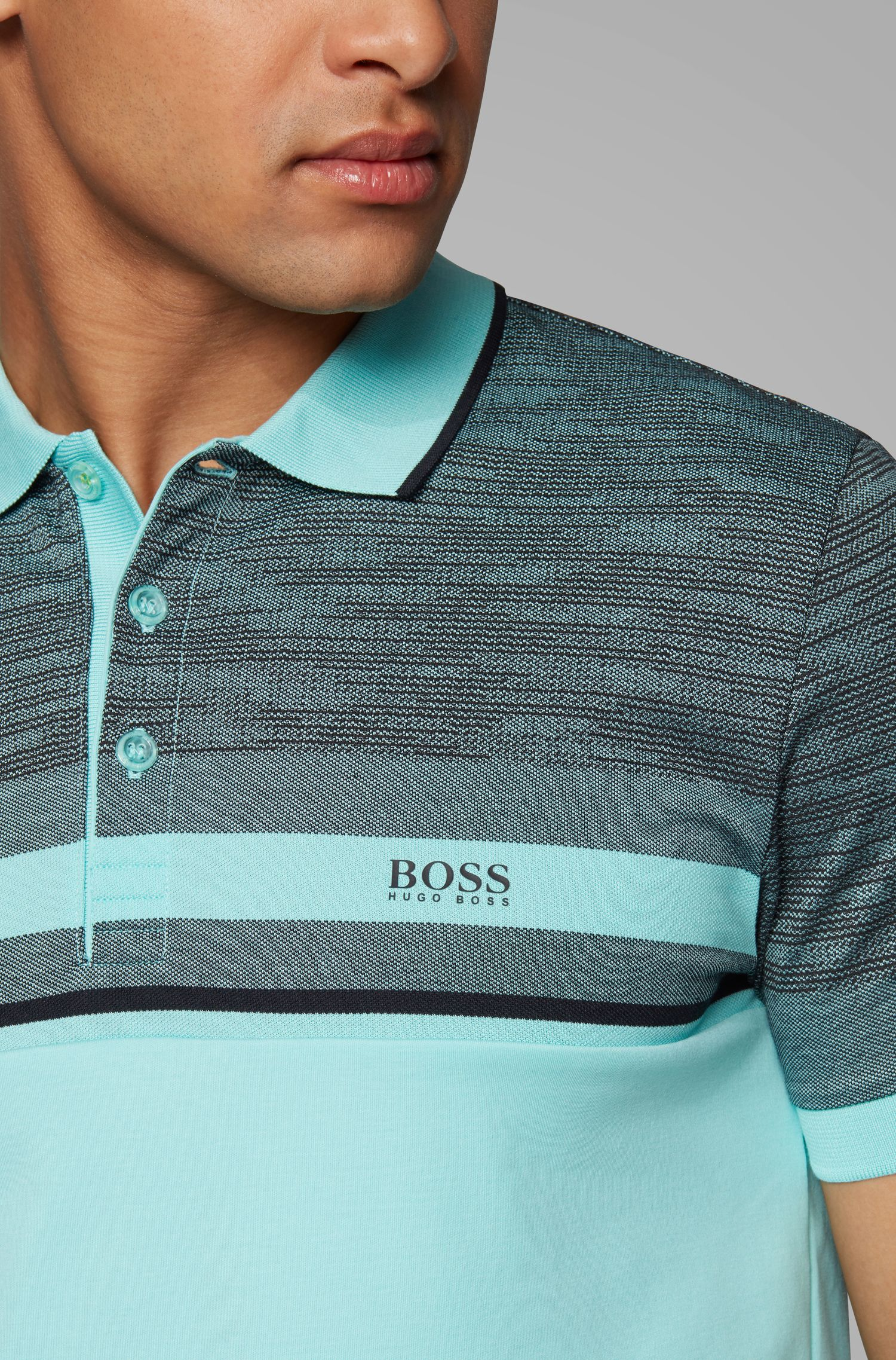 Slim-fit polo shirt with overprinted stripe, Open Green