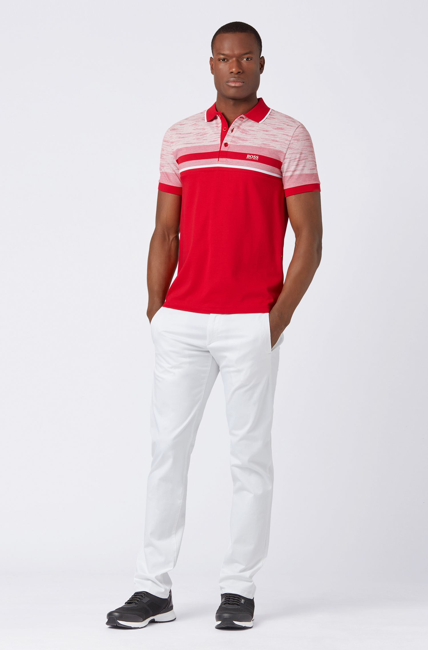 Slim-fit polo shirt with overprinted stripe, Red