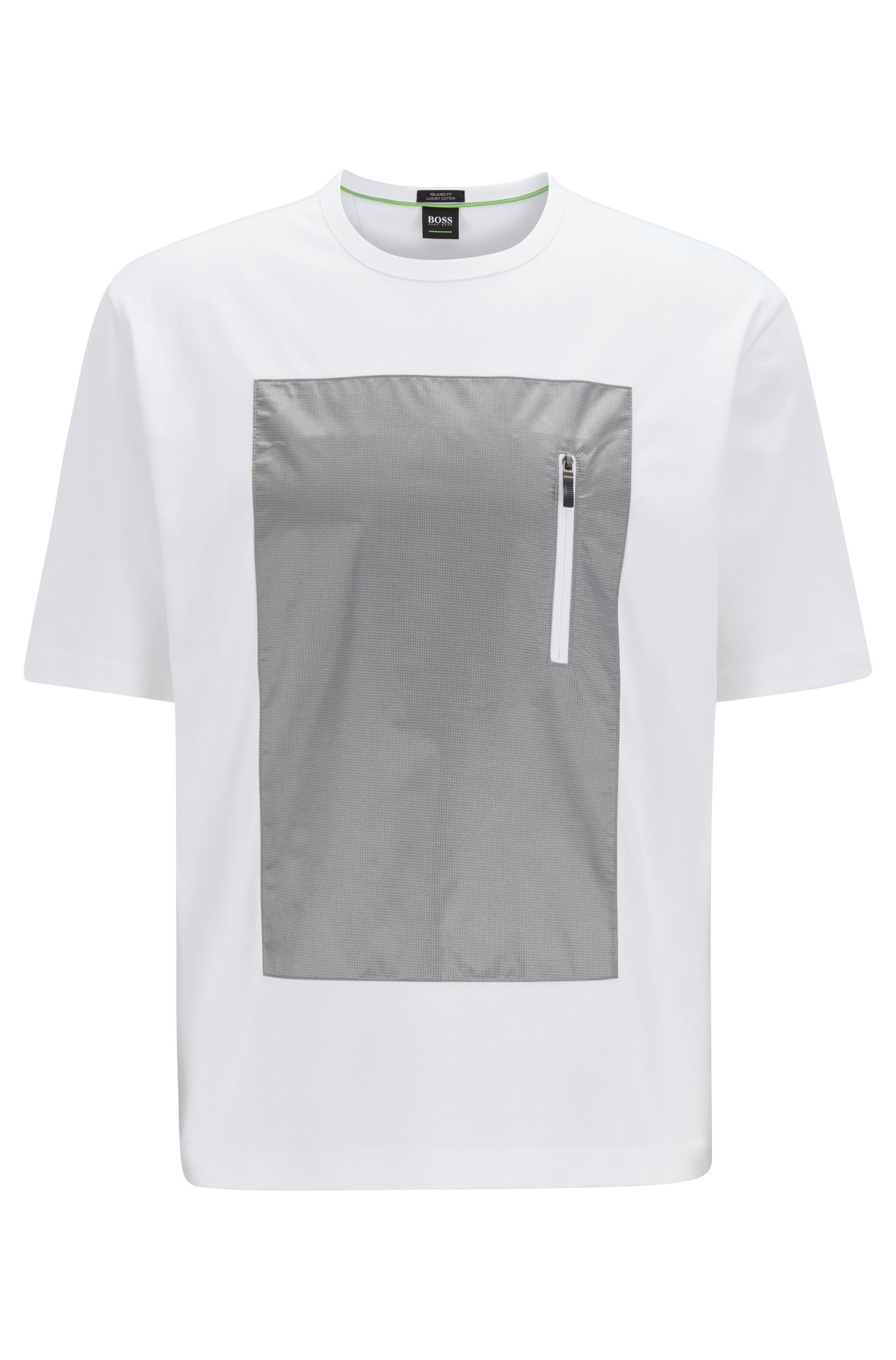 Relaxed-fit T-shirt in cotton with zippered front panel, White