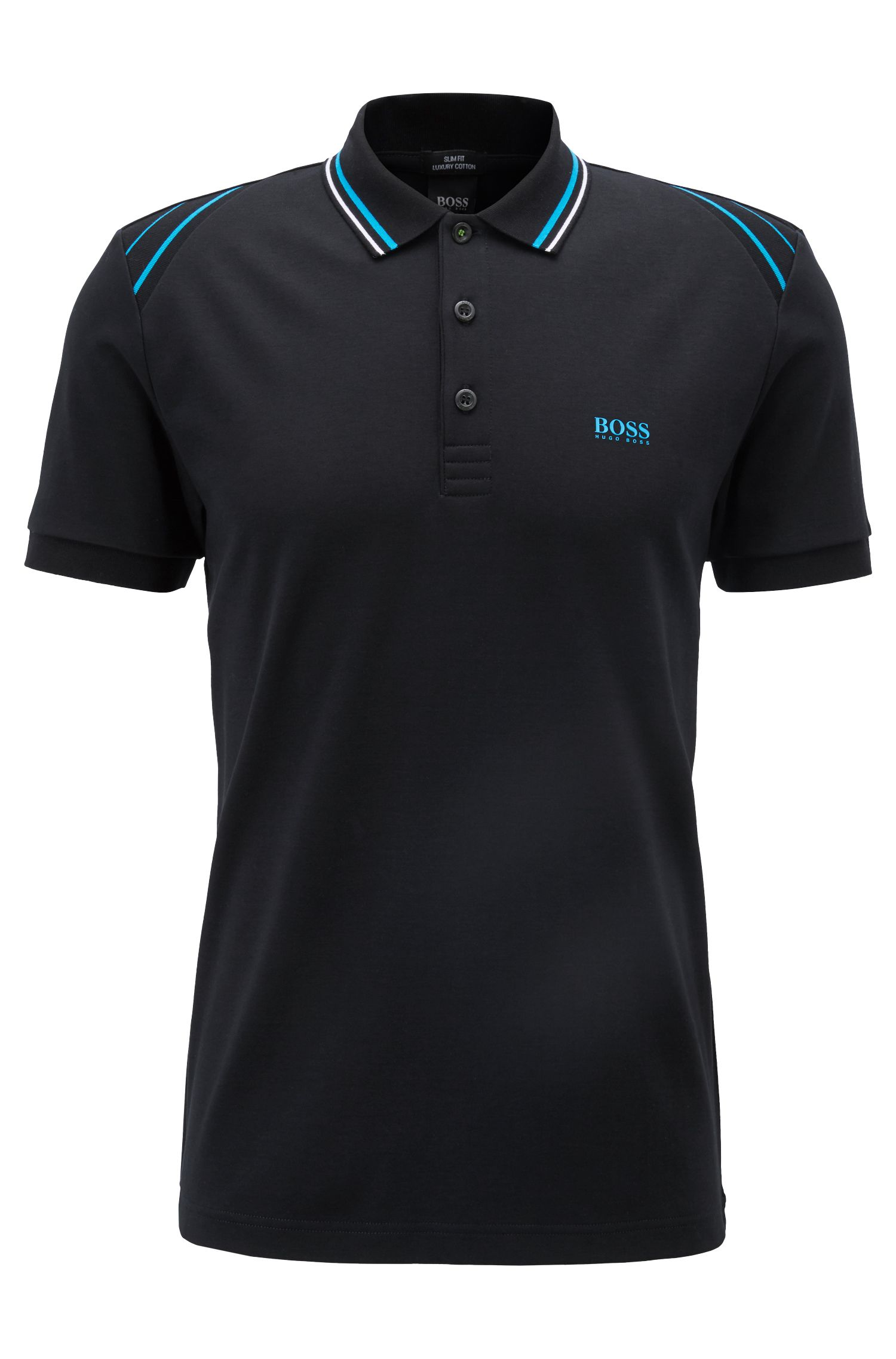 Slim-fit polo shirt with stripe details, Black