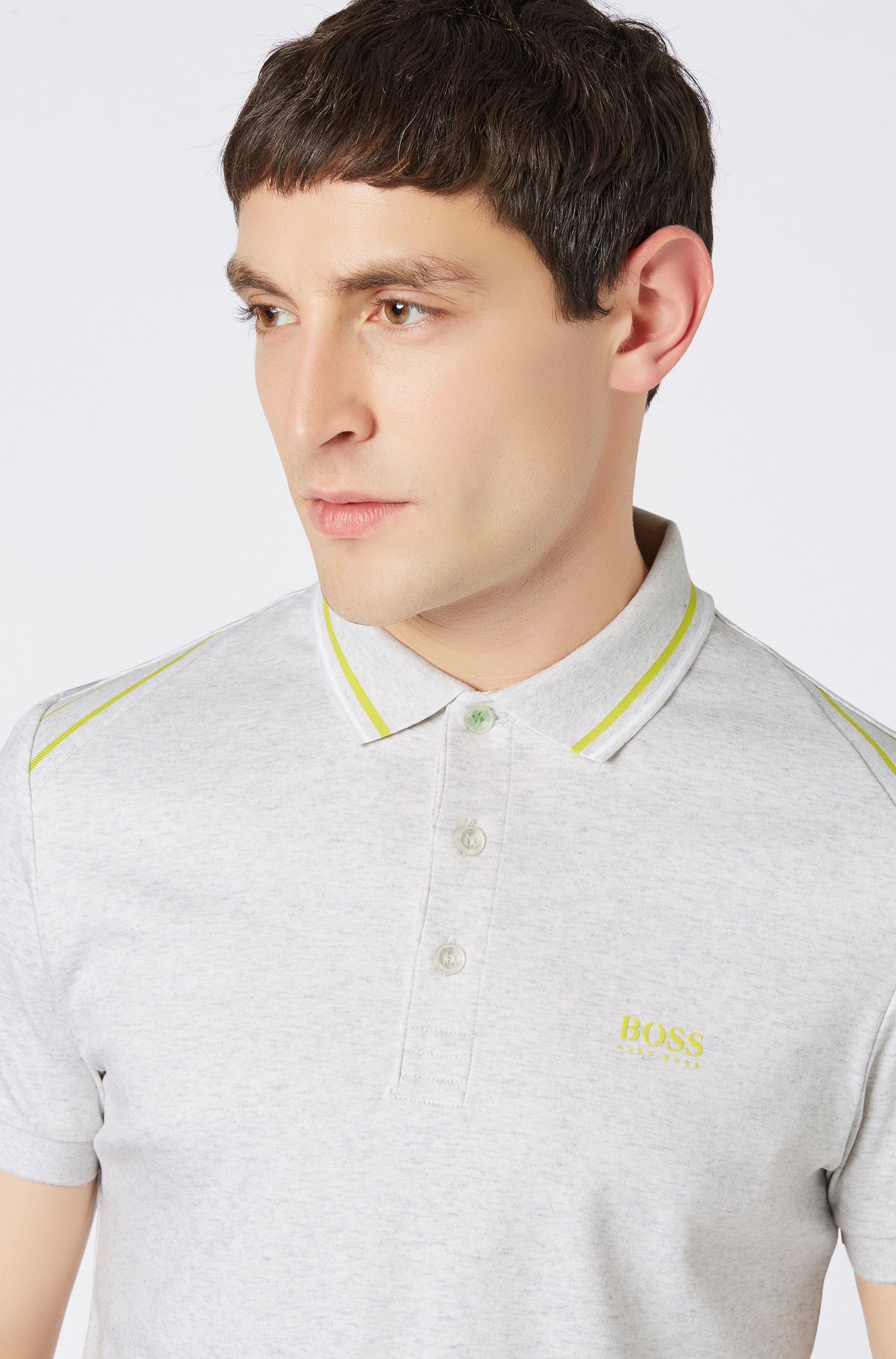 Slim-fit polo shirt with stripe details, Light Grey
