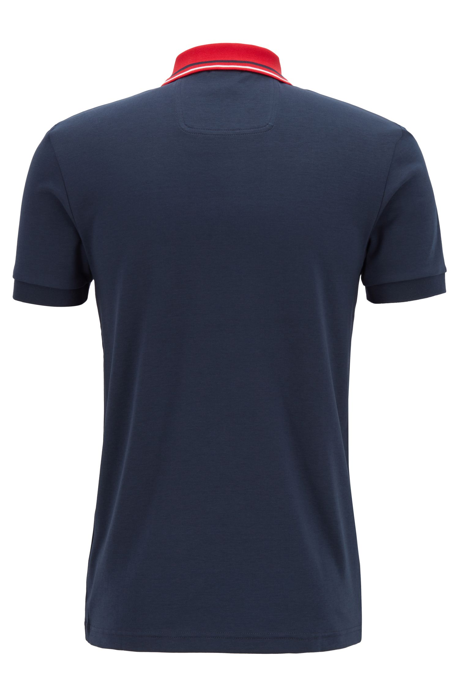 Slim-fit polo shirt with stripe details, Dark Blue
