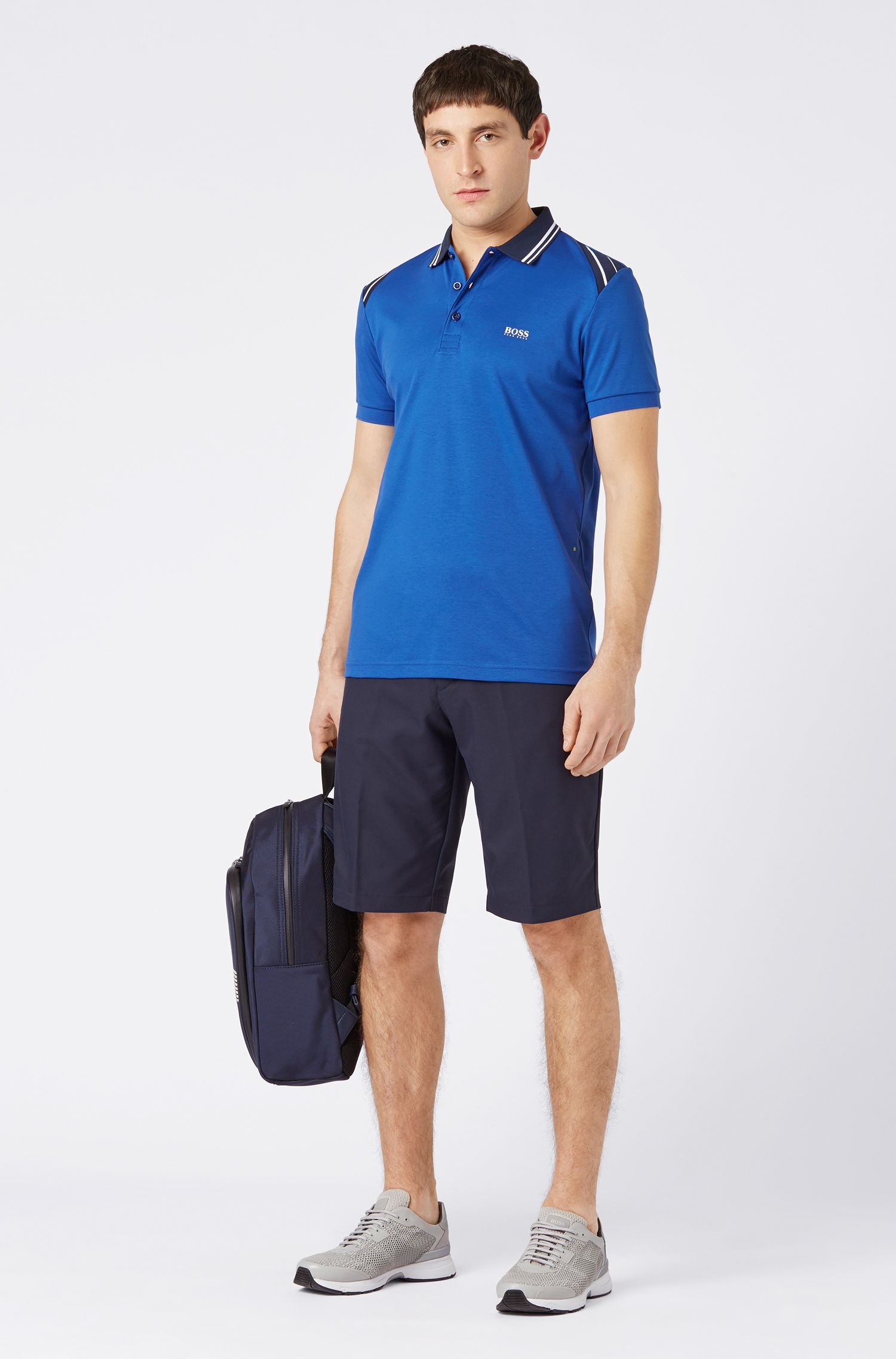 Slim-fit polo shirt with stripe details, Open Blue