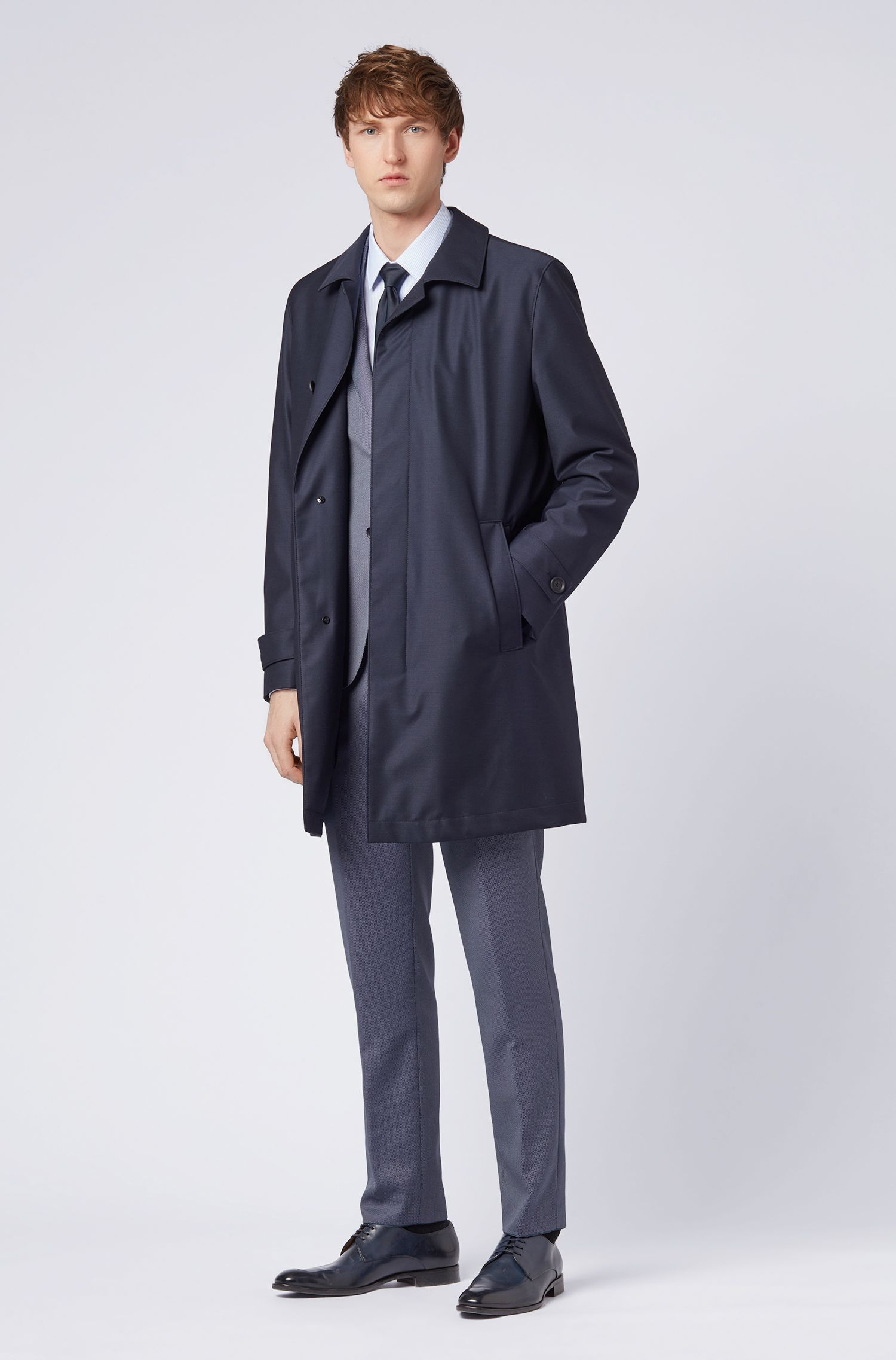 Travel Line coat in virgin wool with perforated lining, Open Blue