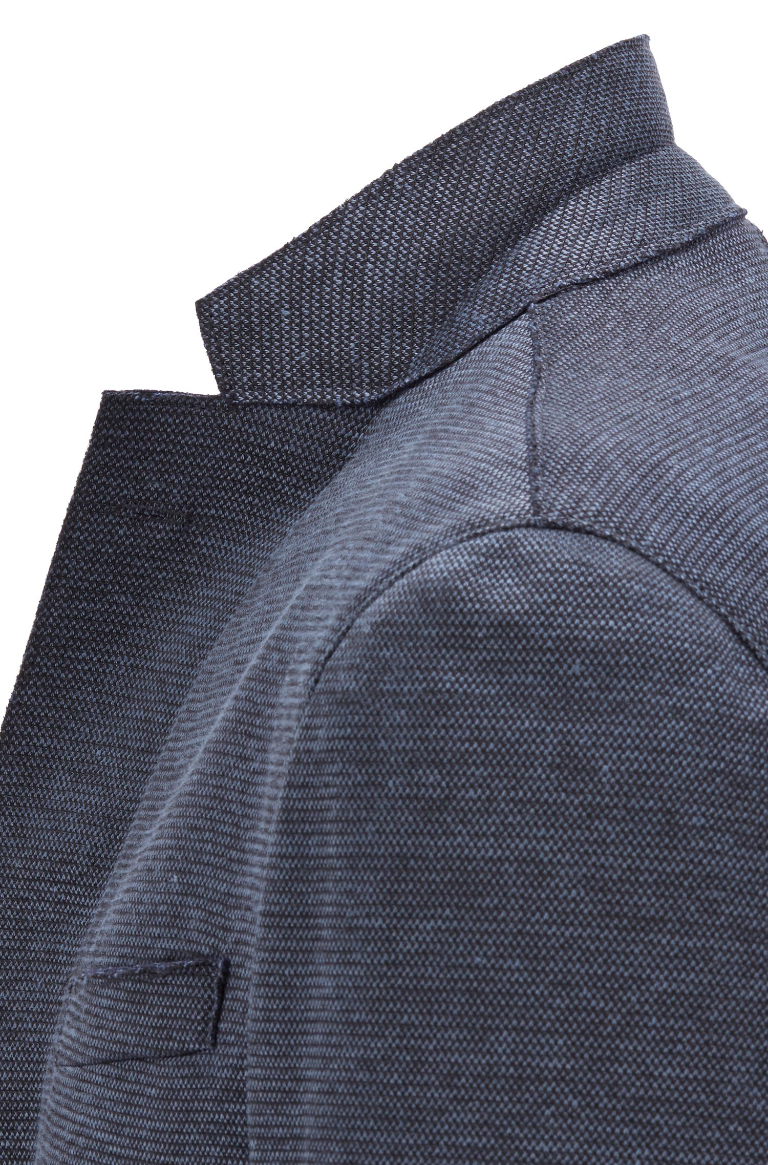 Patterned slim-fit jacket with raw-edge details, Open Blue