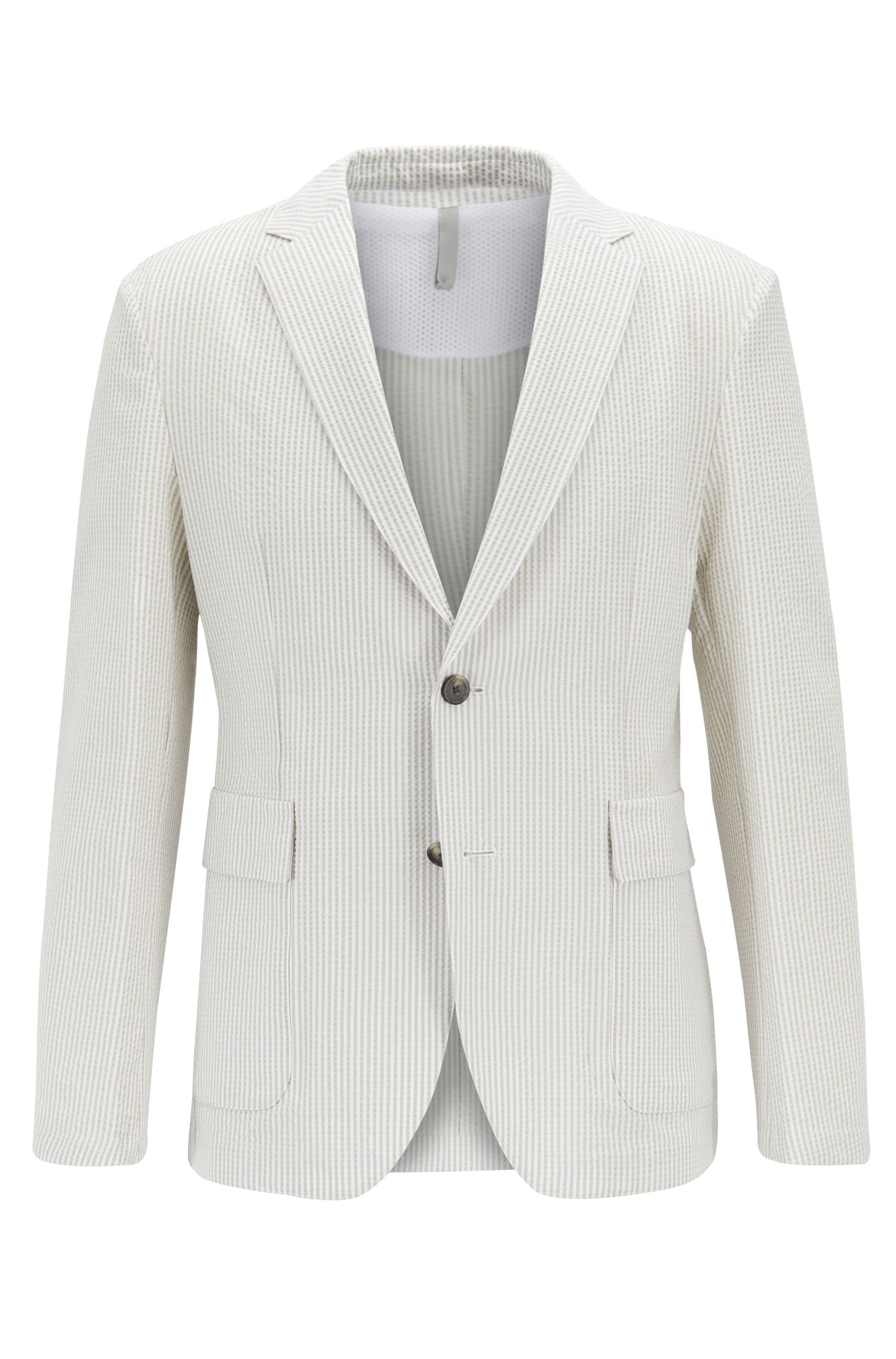 Slim-fit jacket in seersucker fabric with vertical stripes, Natural
