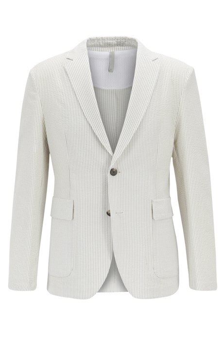 7bfe90c7032 Slim-fit jacket in seersucker fabric with vertical stripes, Natural