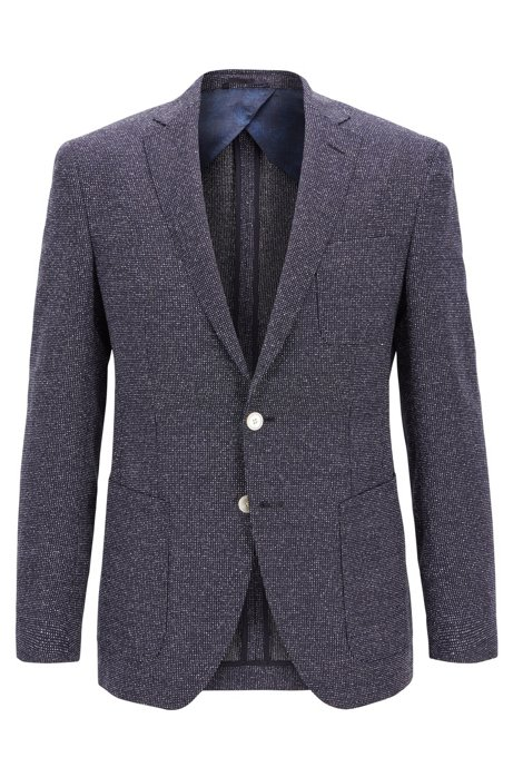 991930c73 BOSS - Micro-patterned extra-slim-fit jacket with patch pockets