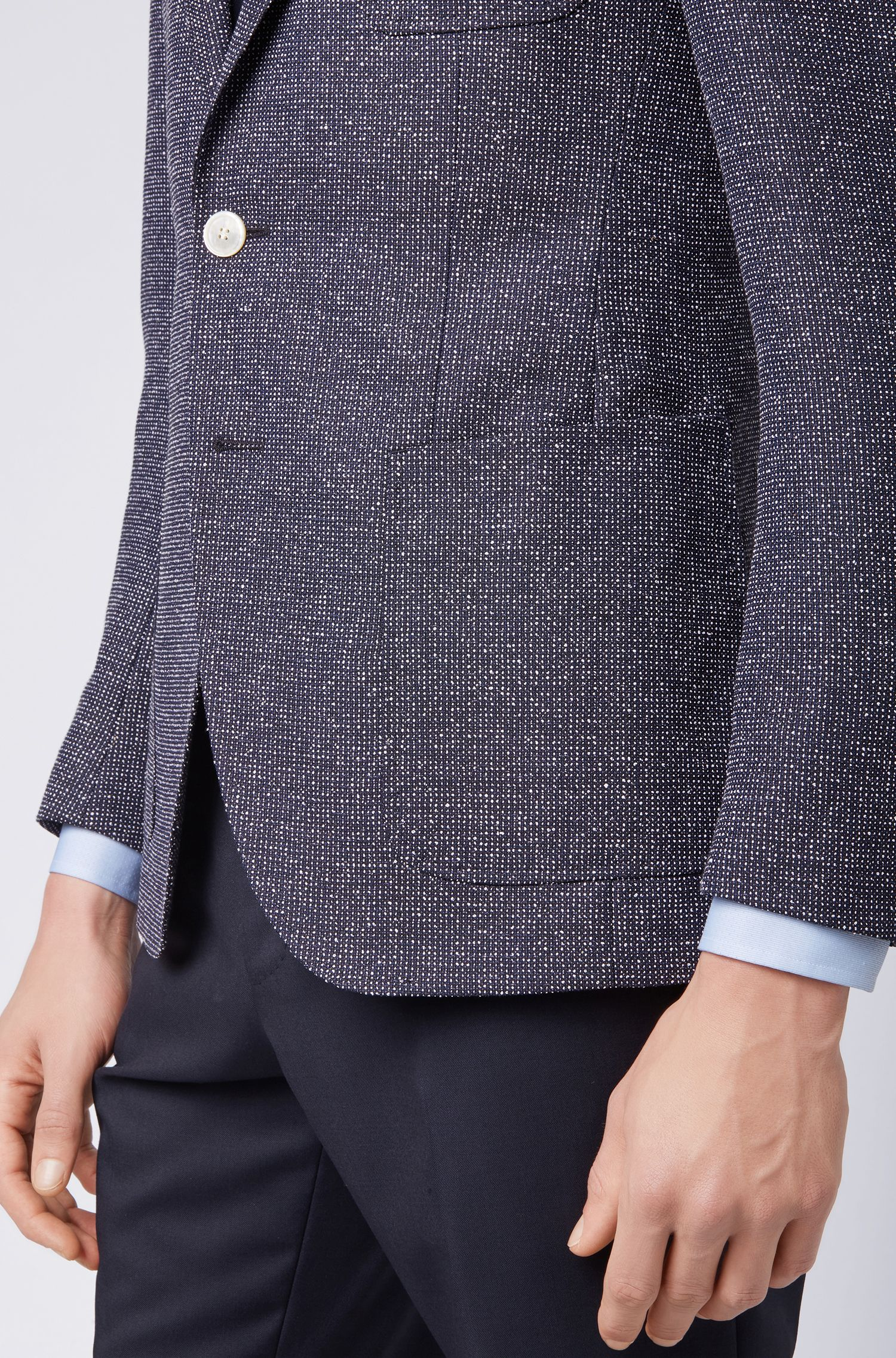 Micro-patterned extra-slim-fit jacket with patch pockets, Open Blue