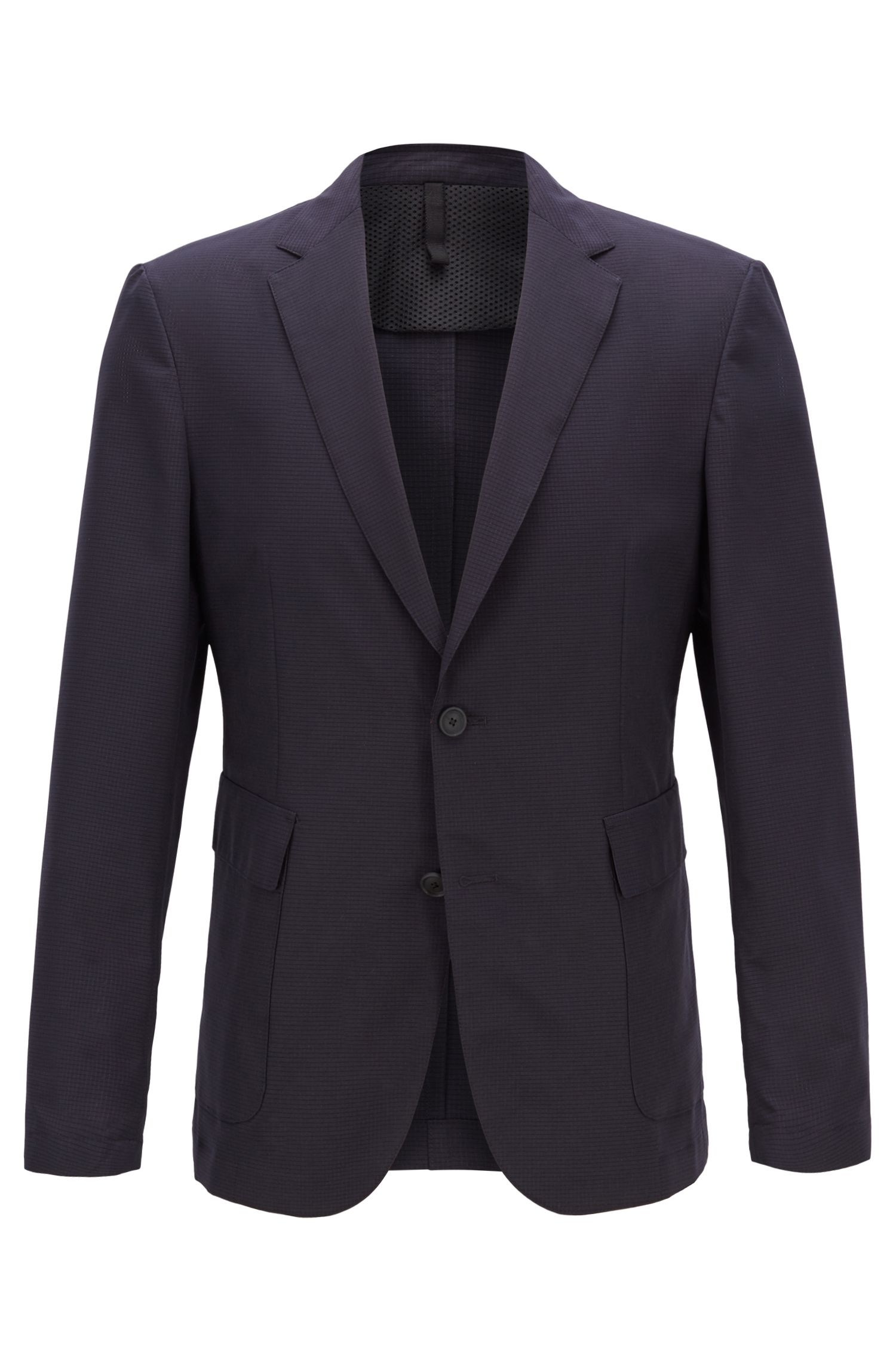 Travel Line slim-fit jacket in micro-patterned fabric, Open Blue