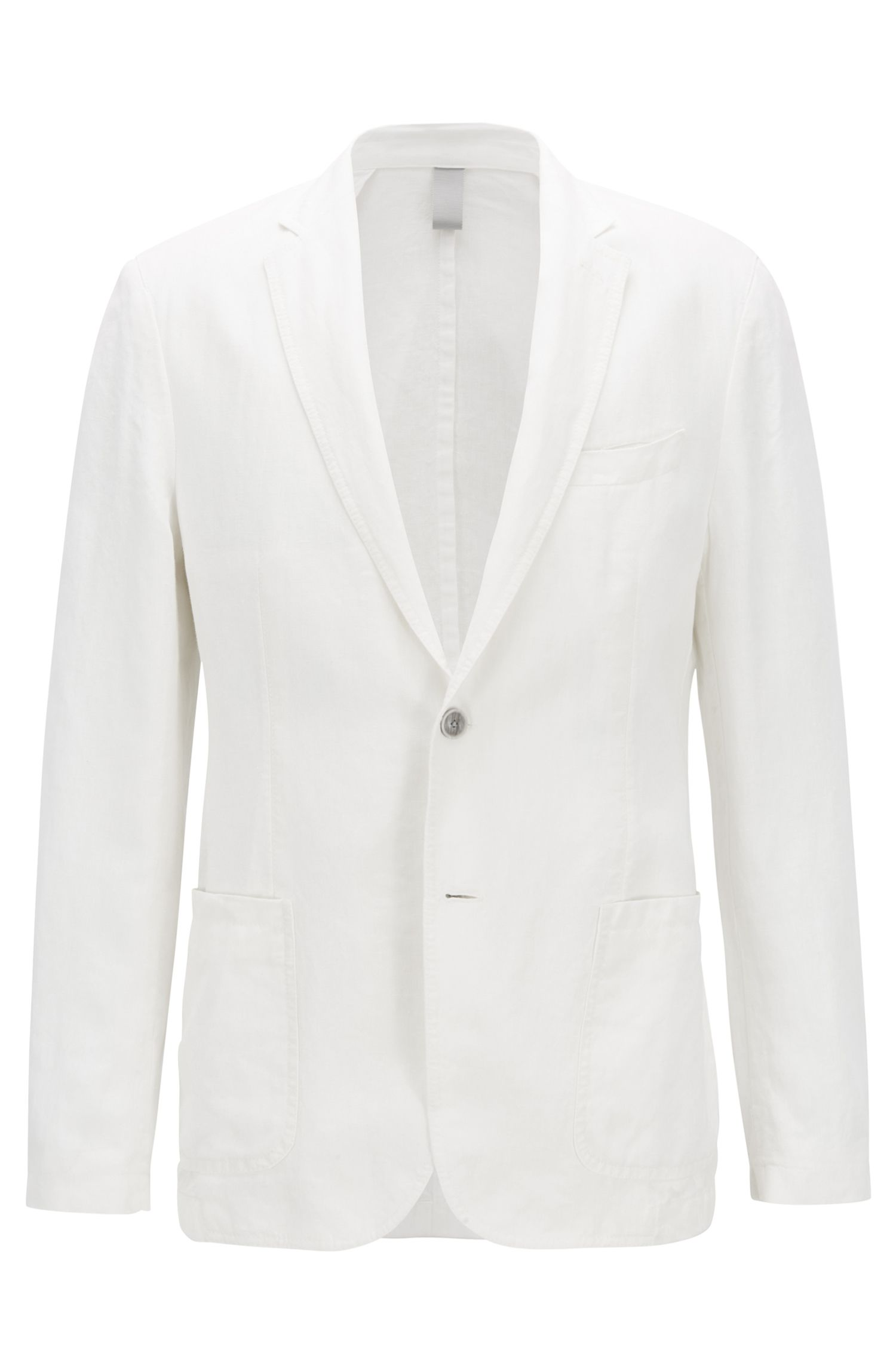Linen jacket in a slim fit, White