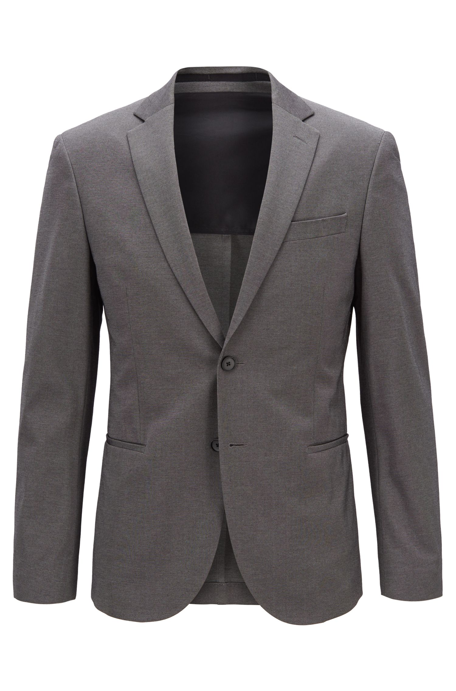 Slim-fit jacket in micro-patterned jersey, Dark Grey