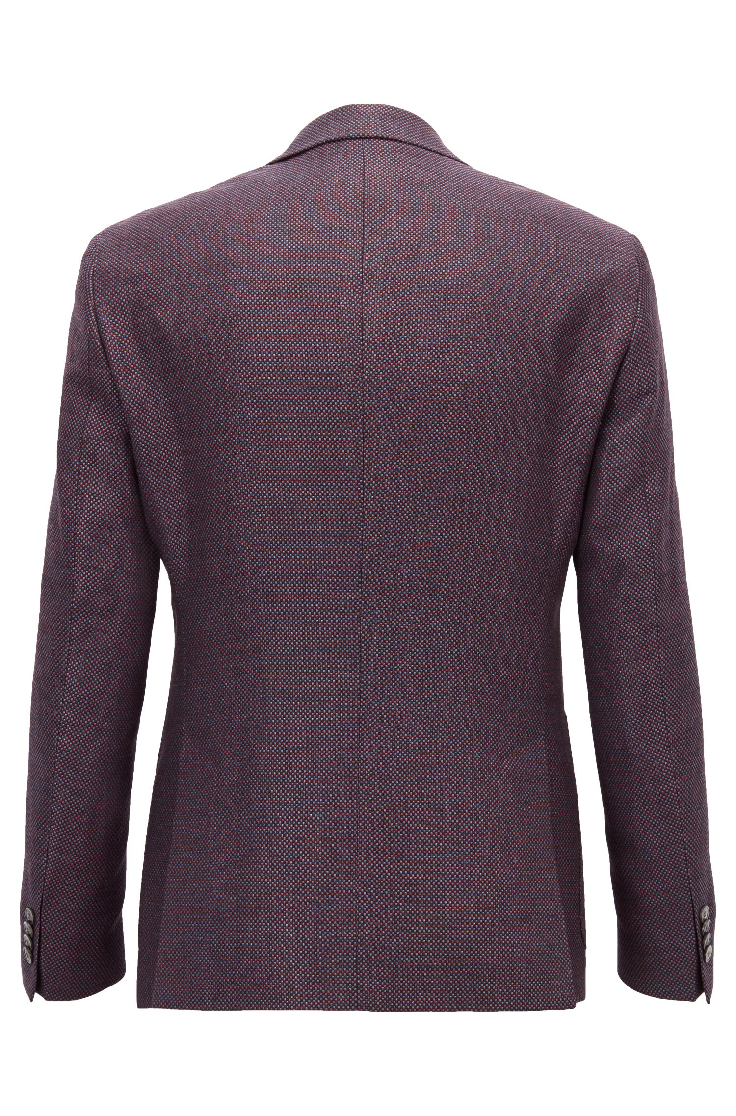 Extra-slim-fit jacket in virgin wool and linen, Blue
