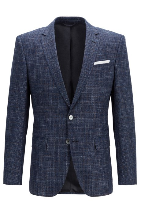 93f6ed2921 Slim-fit micro-patterned jacket with pocket square, Open Blue