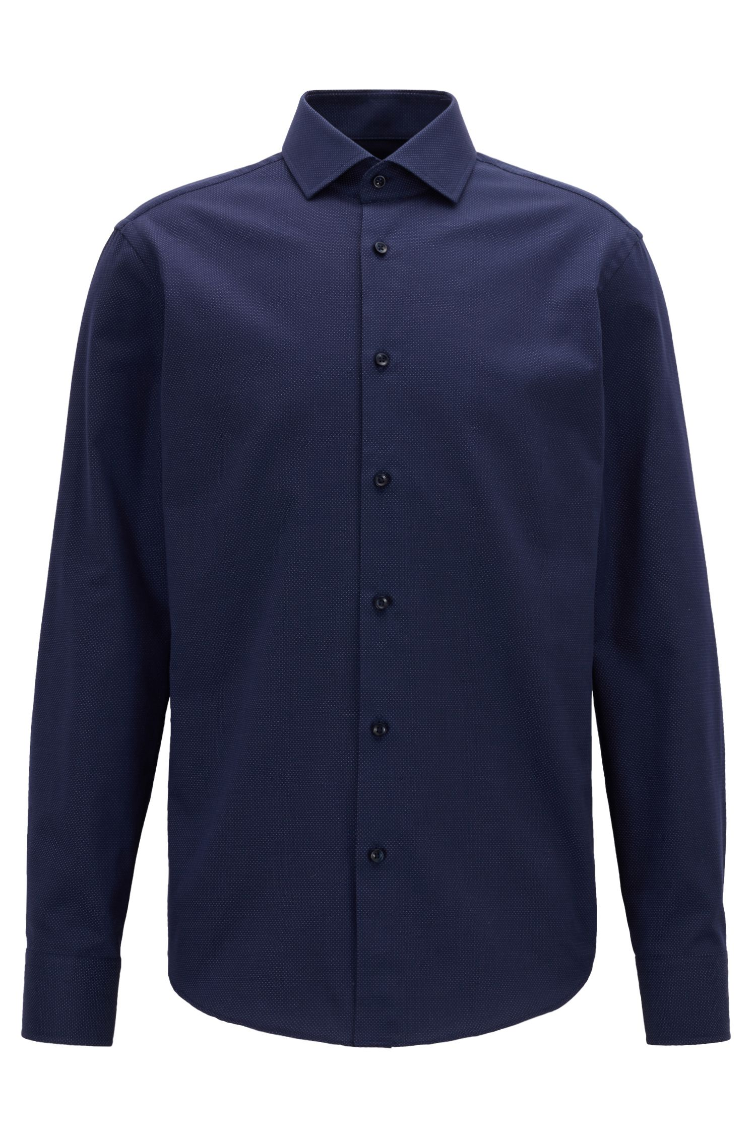 Regular-fit shirt with micro dots in stretch cotton, Dark Blue