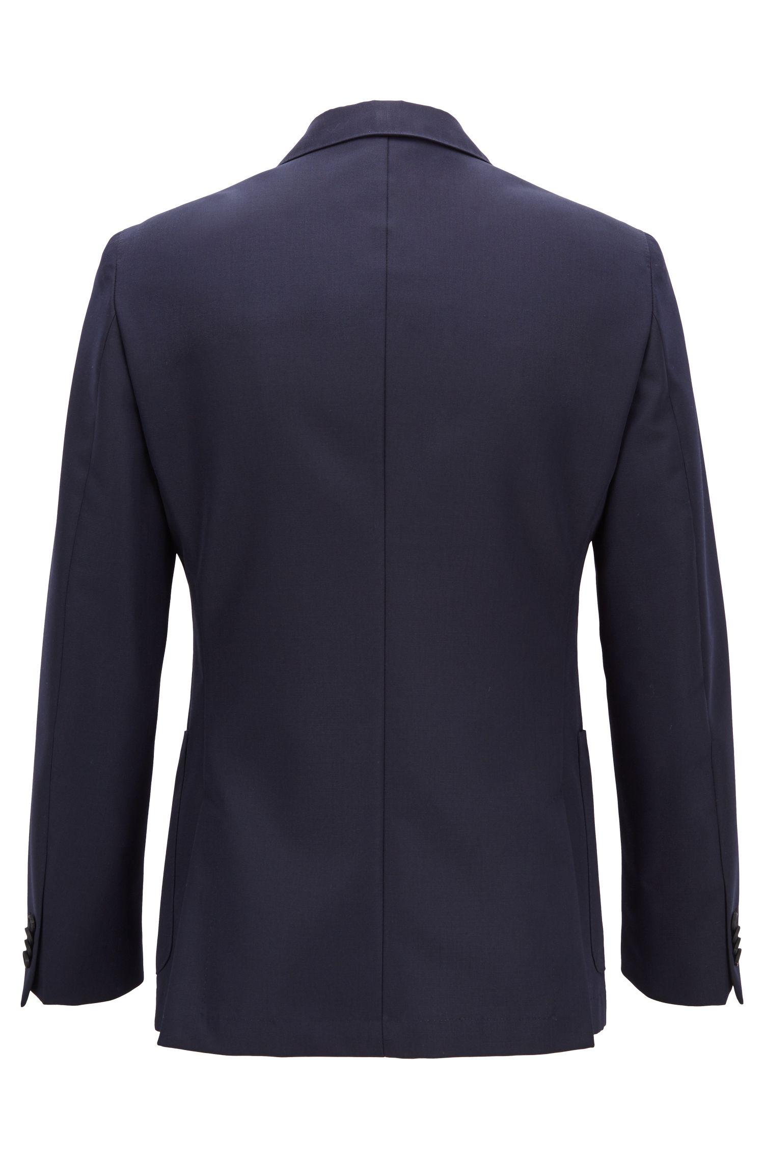 Travel Line slim-fit jacket in a wool blend, Open Blue