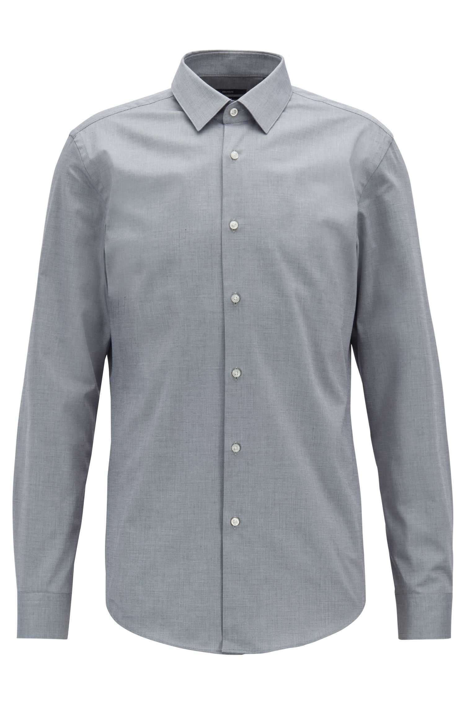 Slim-fit shirt in micro-structured stretch cotton, Grey