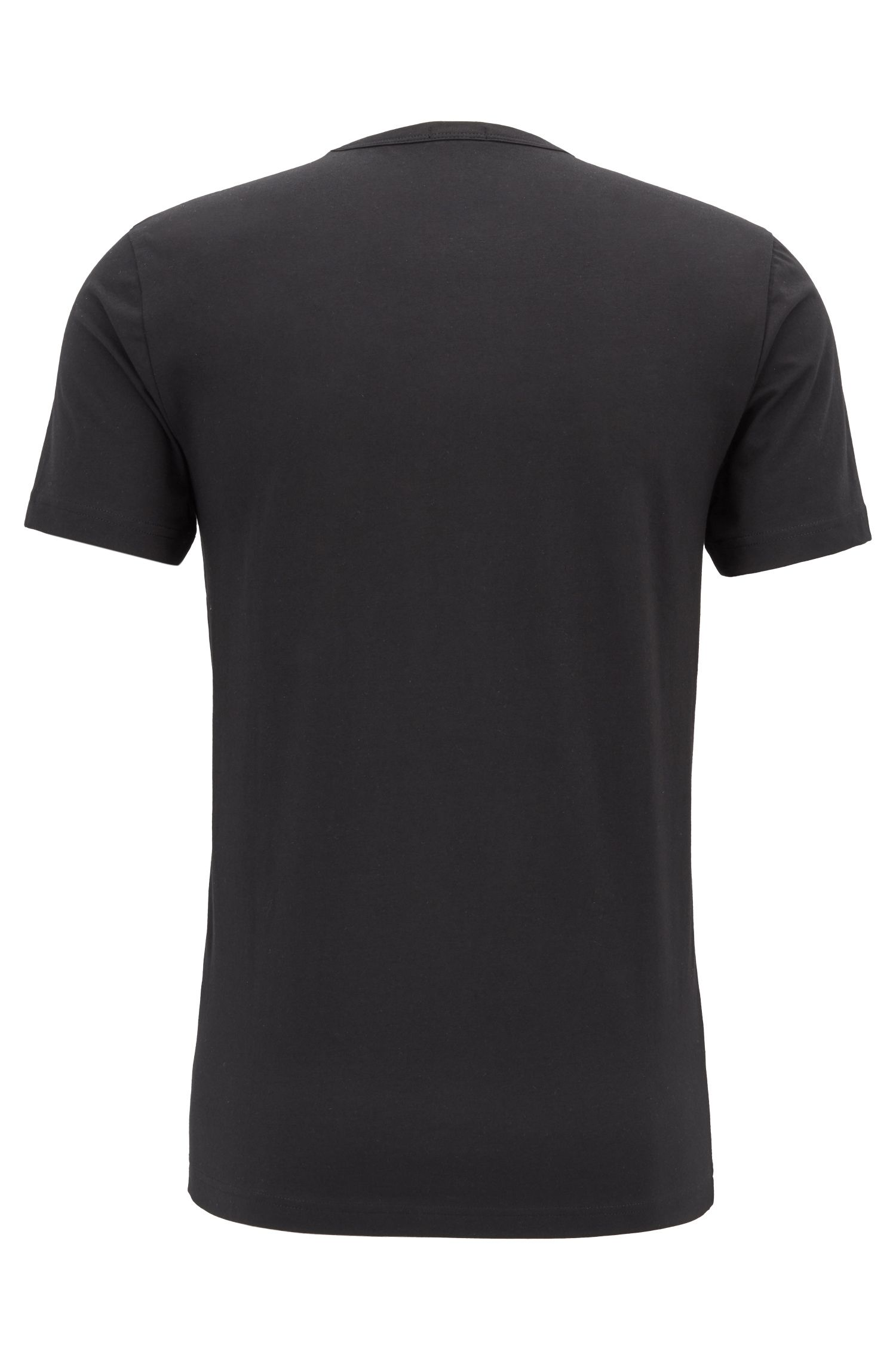 Crew-neck T-shirt in stretch cotton with reflective logo, Black