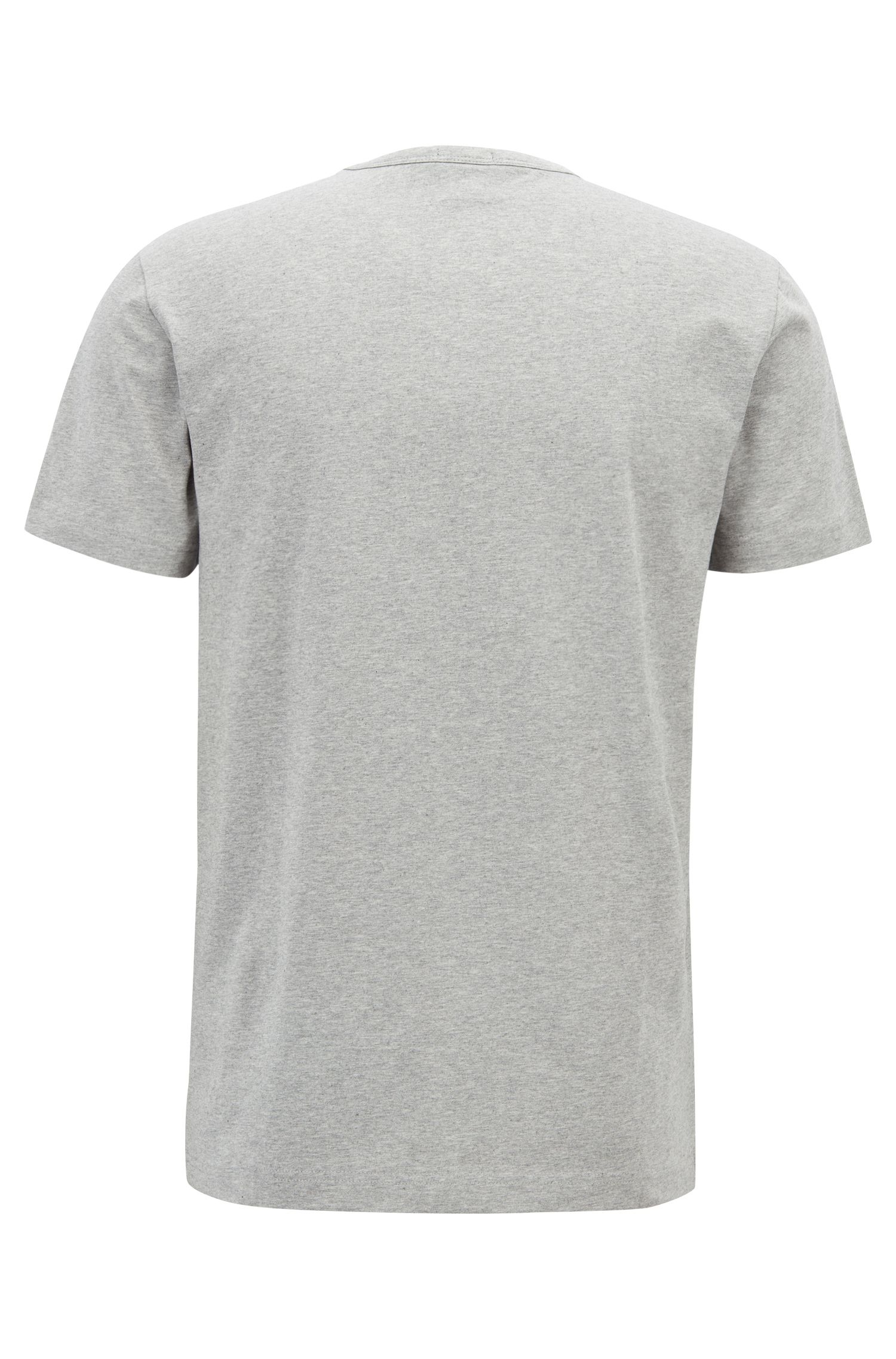 Crew-neck T-shirt in stretch cotton with reflective logo, Light Grey