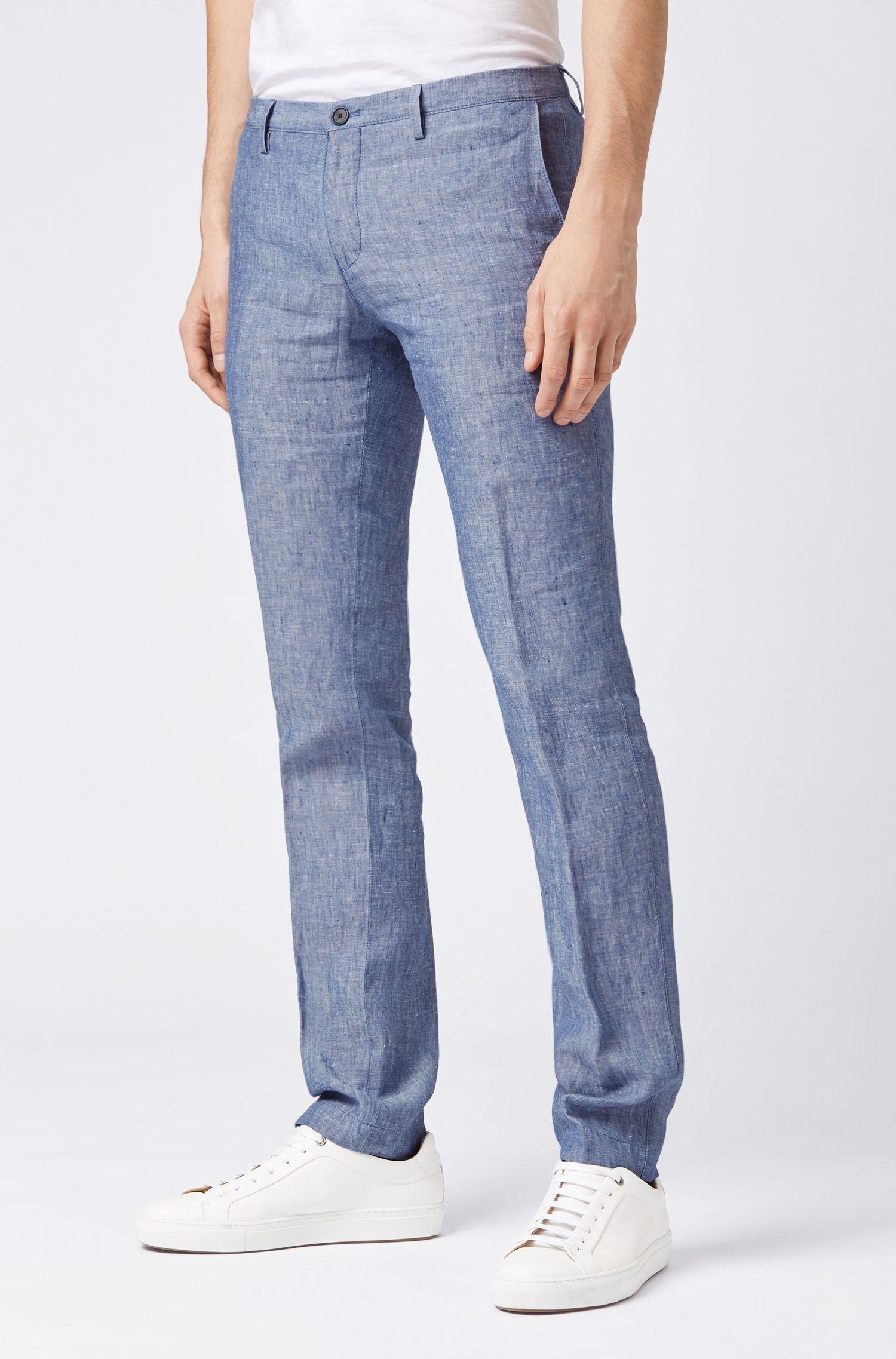 Linen pants in a slim fit, Light Blue