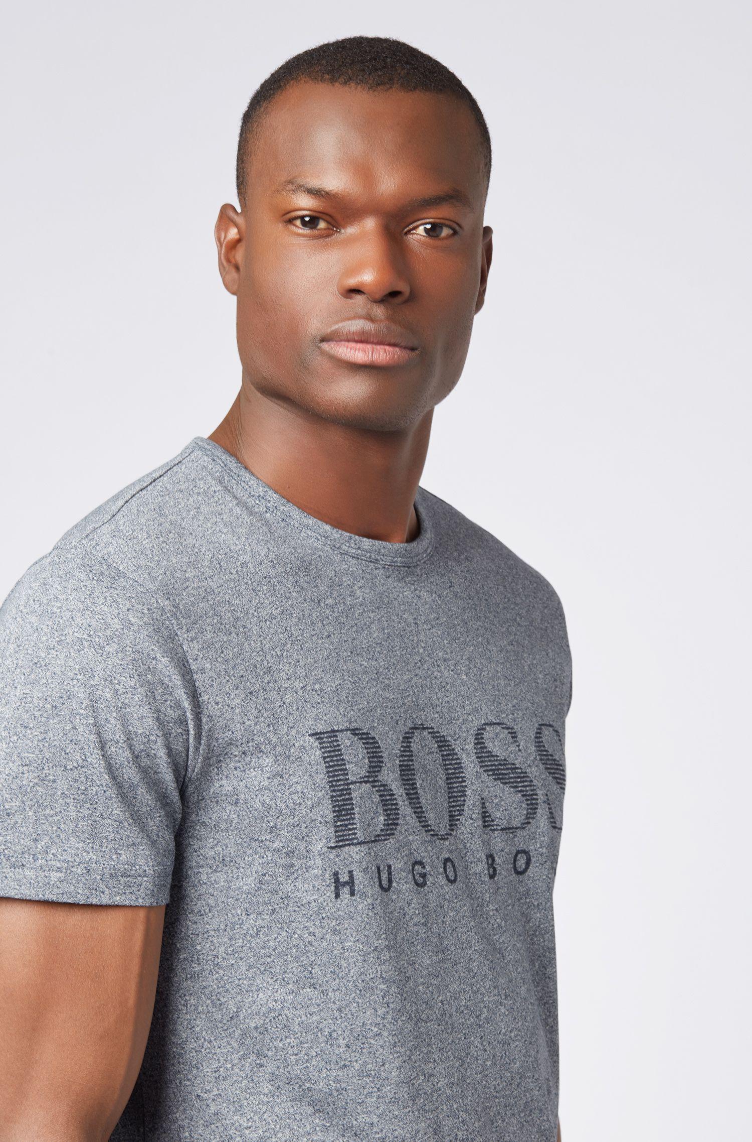 Cotton T-shirt with tonal logo print, Dark Blue