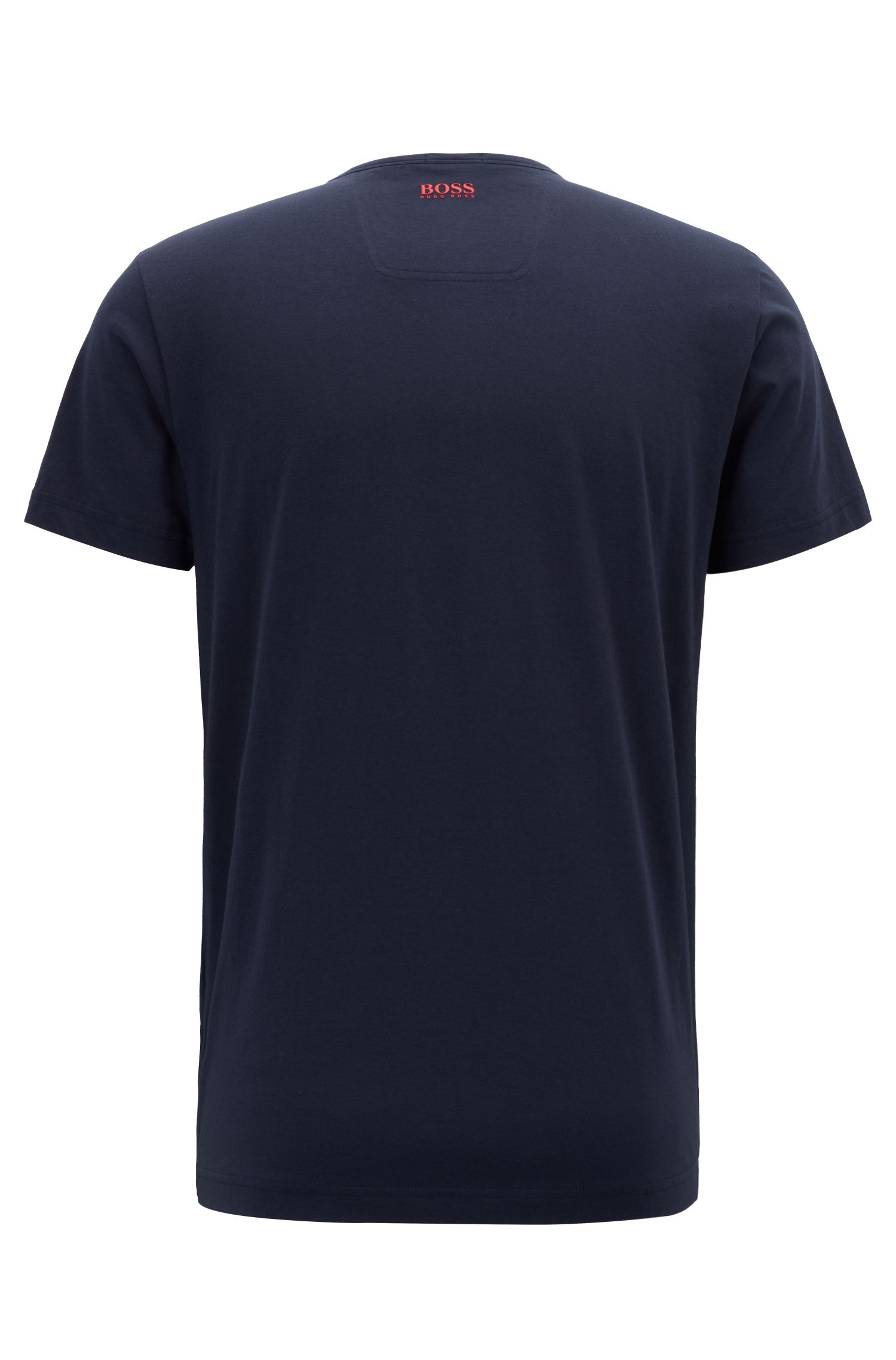 Cotton-jersey T-shirt with rubberized lenticular logo print, Dark Blue