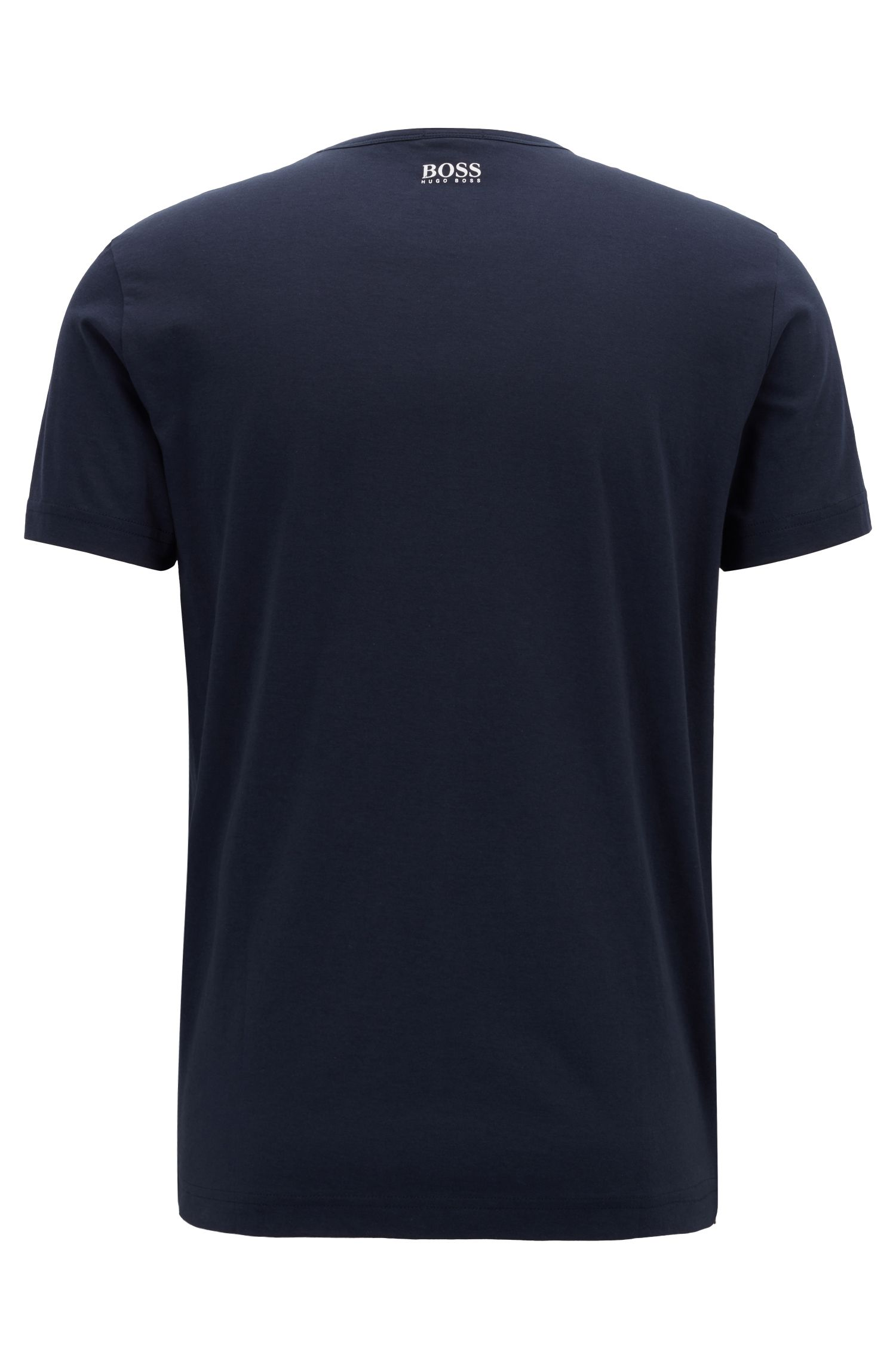 Regular-fit cotton T-shirt with logo artwork, Dark Blue