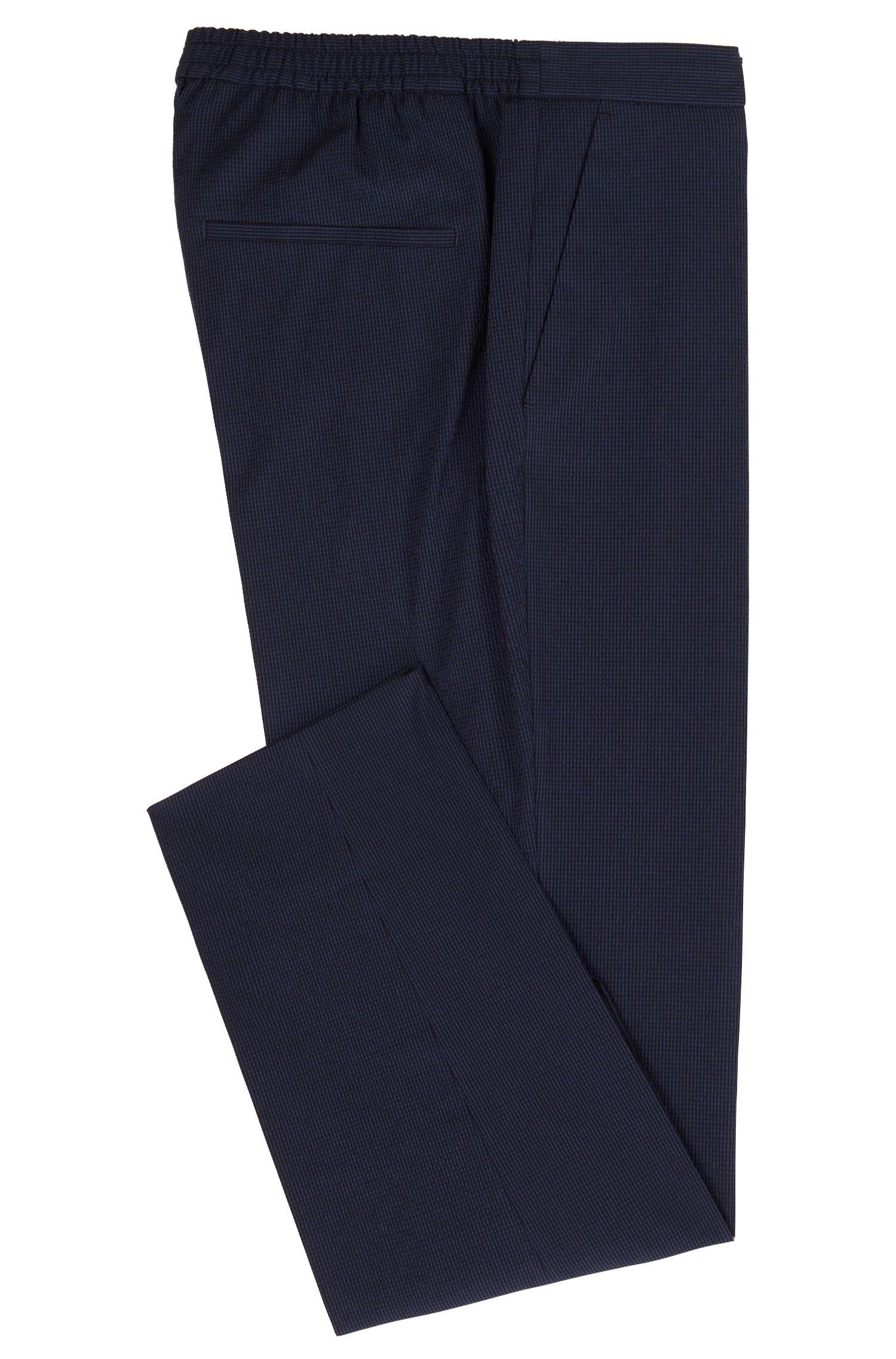 Cropped slim-fit pants in cotton-blend seersucker, Open Blue