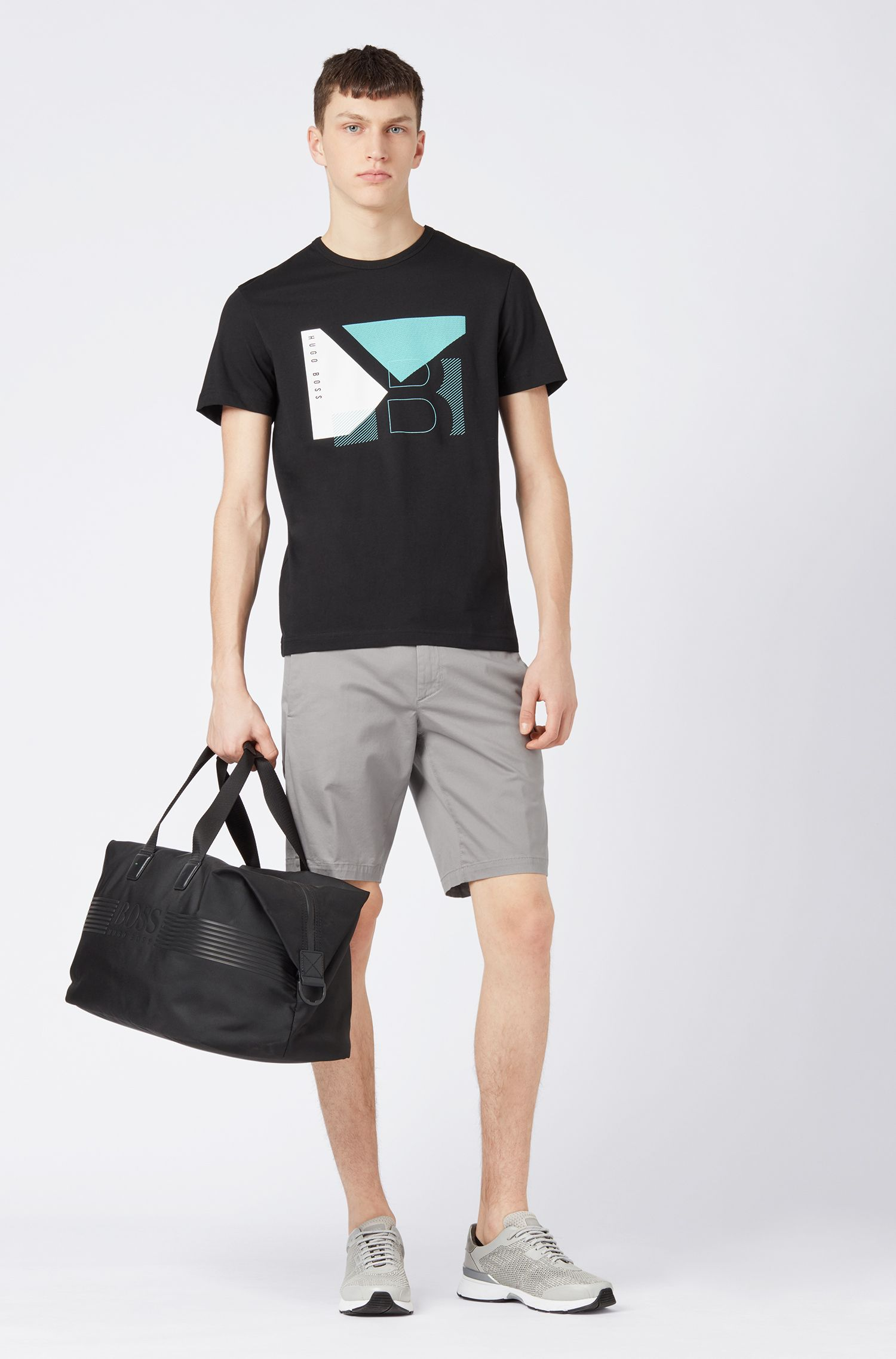 Regular-fit T-shirt in cotton with color-block artwork, Black