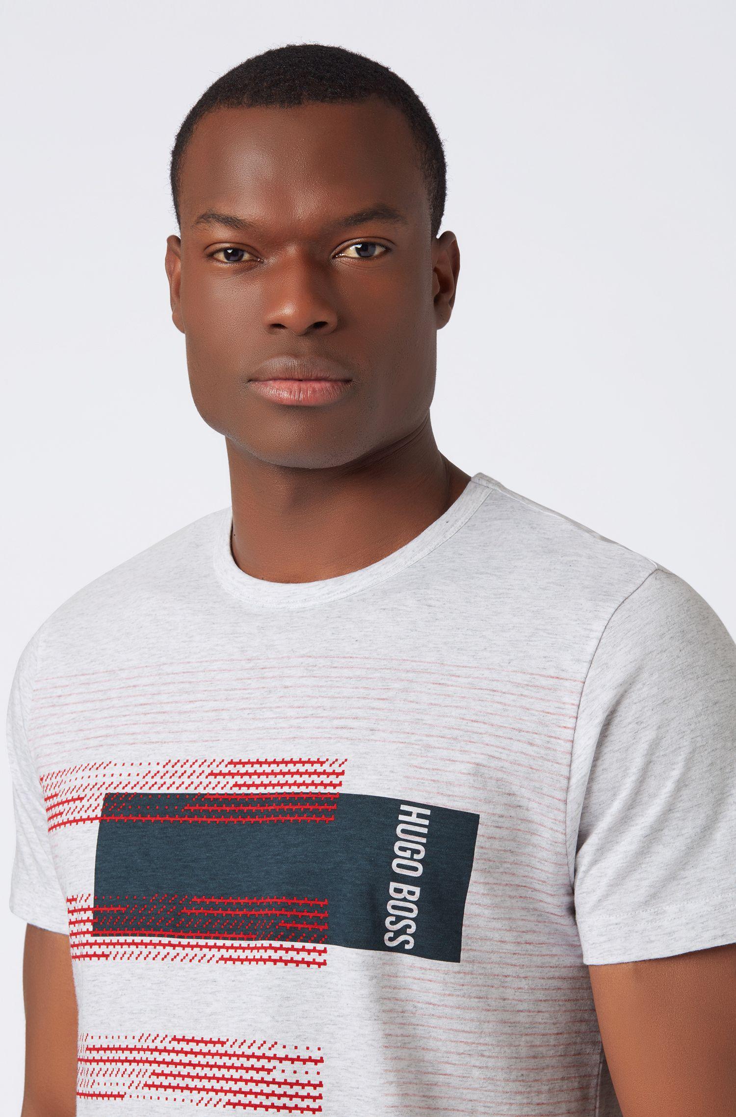 Regular-fit cotton T-shirt with stripe artwork, Light Grey