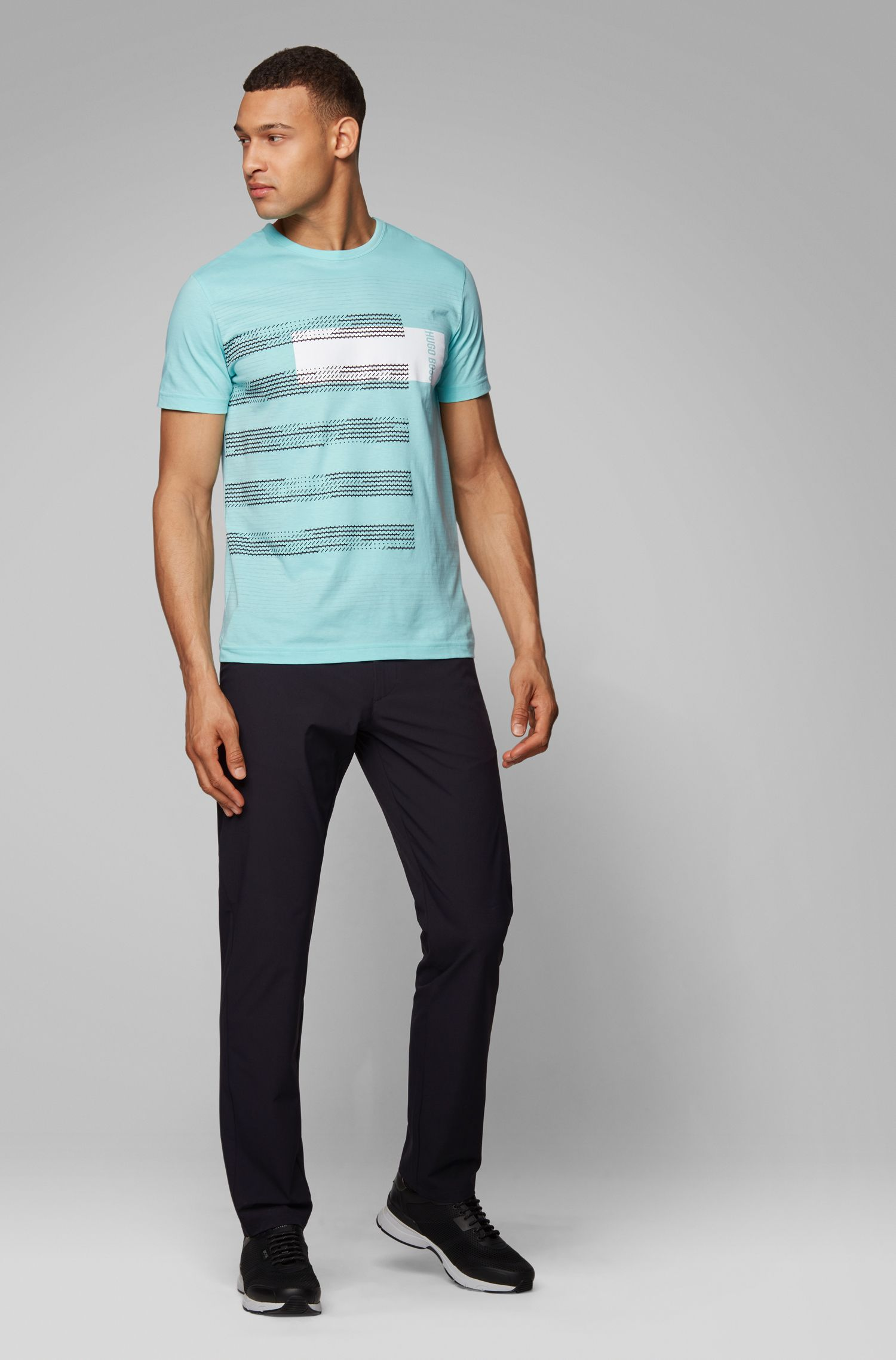 Regular-fit cotton T-shirt with stripe artwork, Open Green