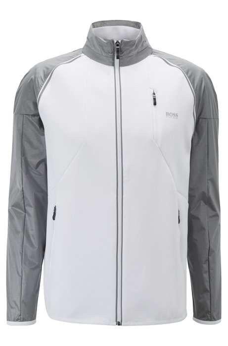 Zipper-through sweatshirt with detachable contrast sleeves, White