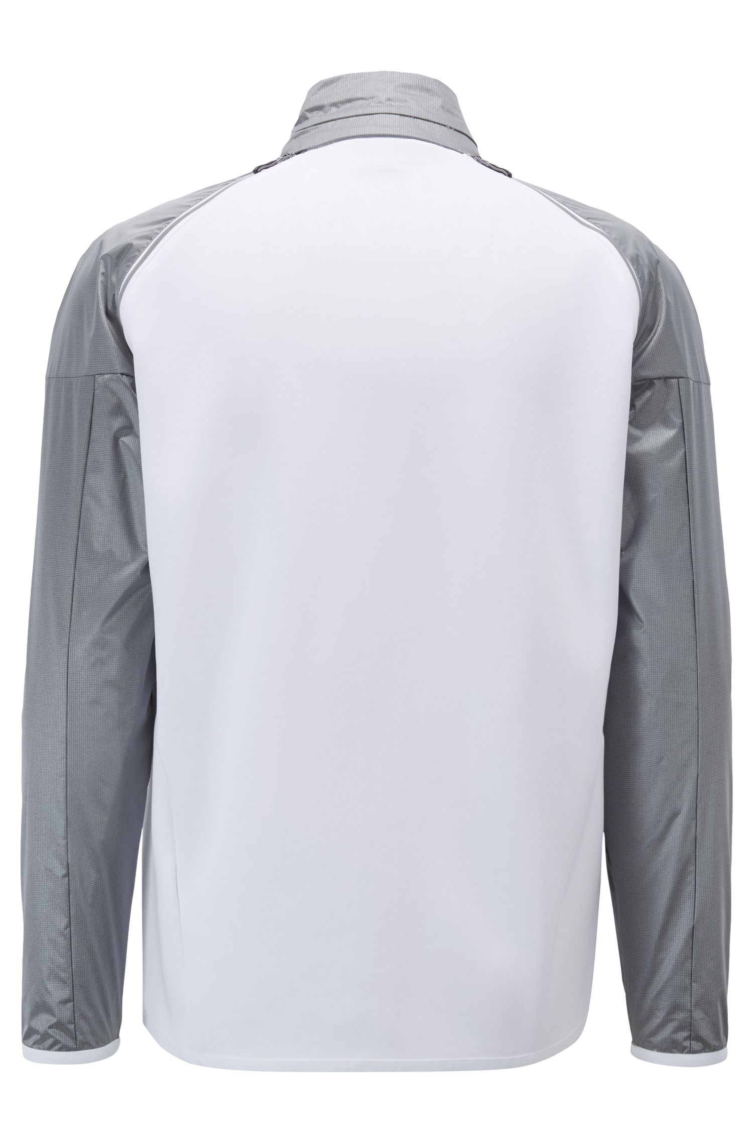 Zipper-through sweatshirt with detachable contrast sleeves, White