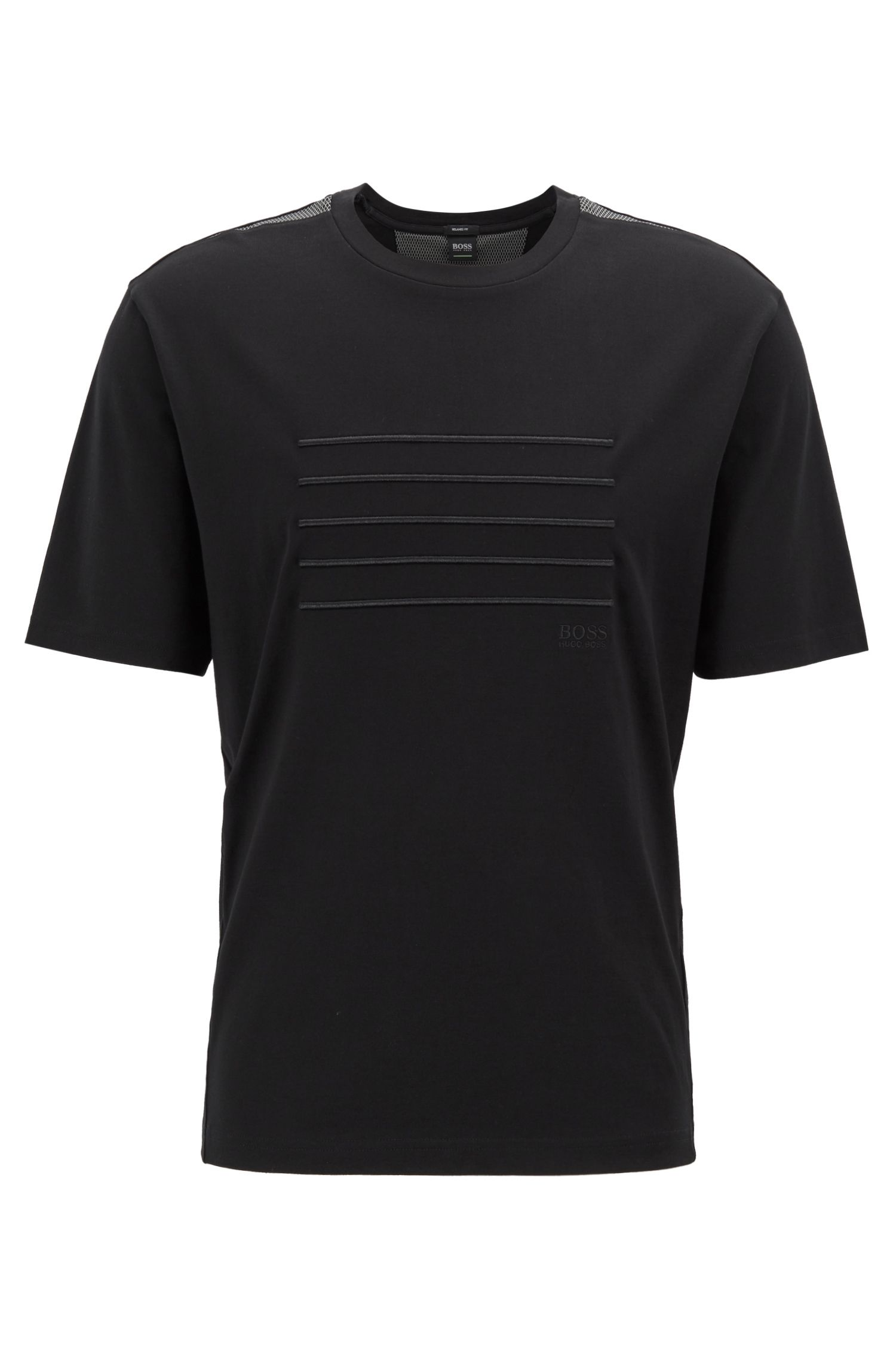 Relaxed-fit T-shirt with stripe embroidery, Black