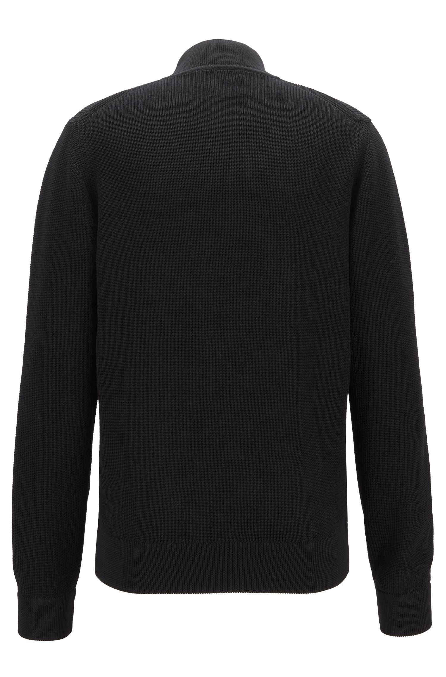 Knitted jacket in mercerized cotton, Black
