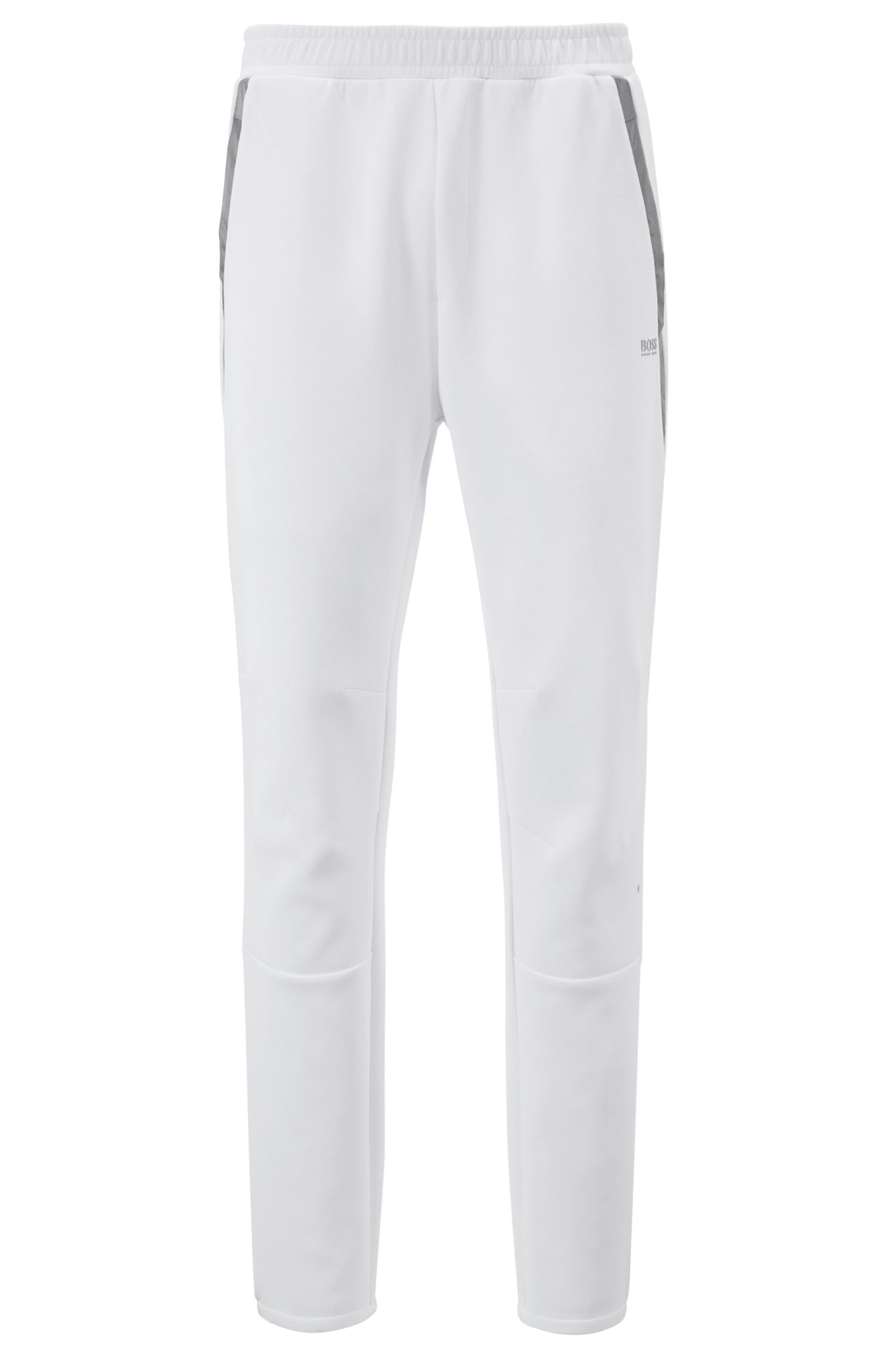 Slim-fit jersey pants with contrast trims, White