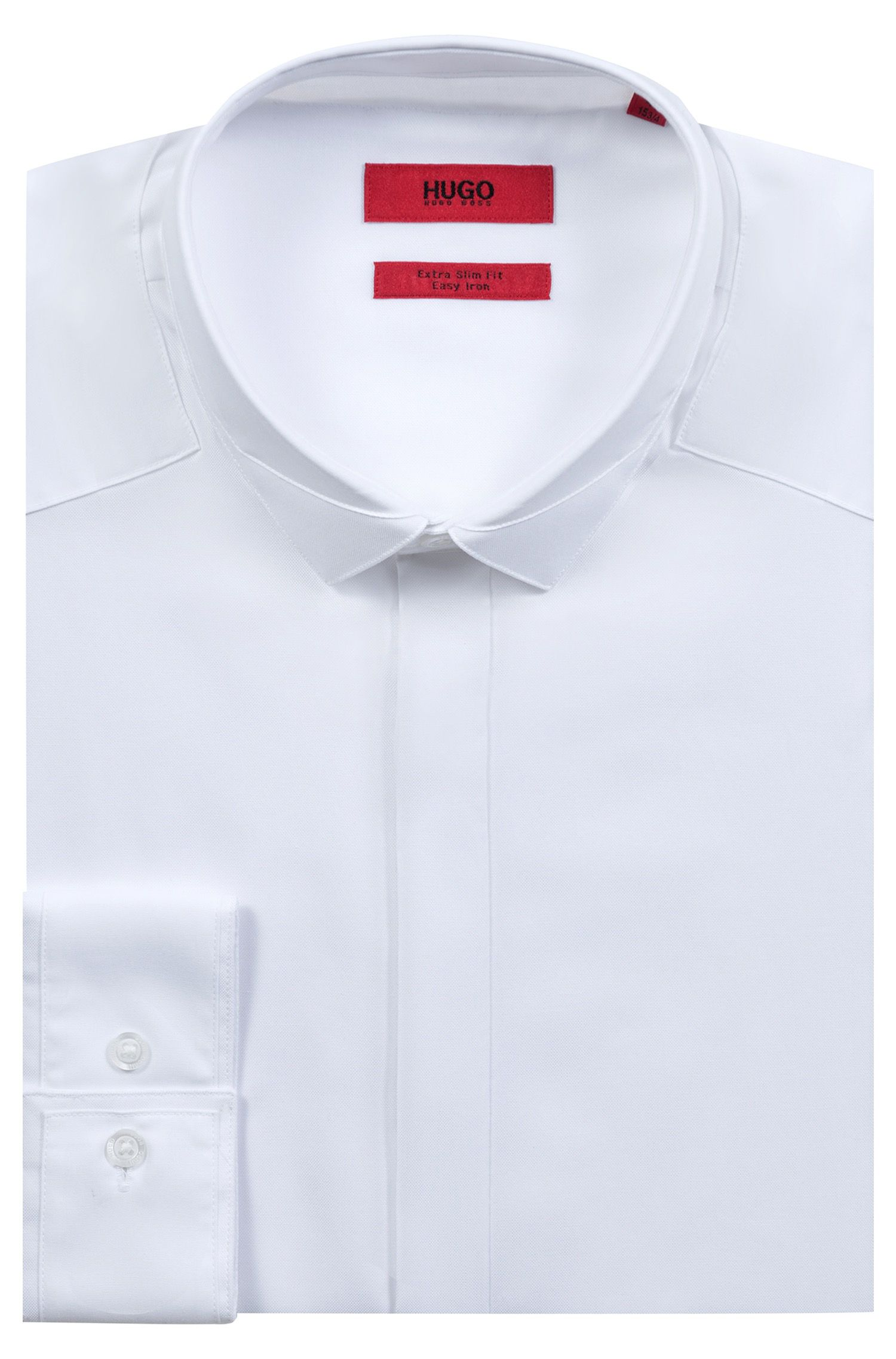 Extra-slim-fit cotton shirt with easy-iron finishing, Open White