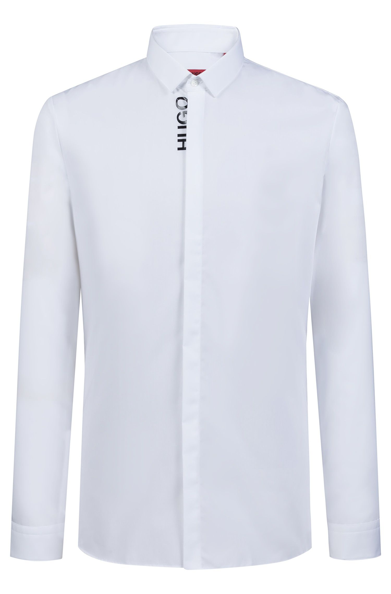 Extra-slim-fit shirt with logo-edged concealed placket, Open White