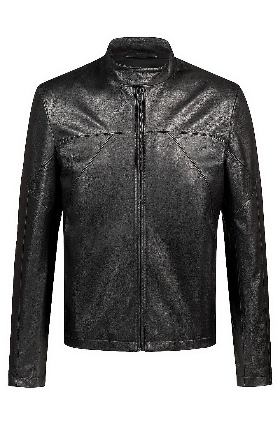 d1f982c56 HUGO - Slim-fit biker jacket in nappa leather