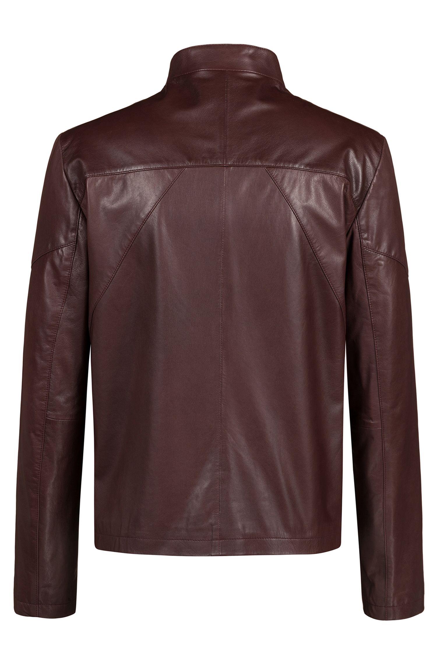 Slim-fit biker jacket in nappa leather, Dark Red