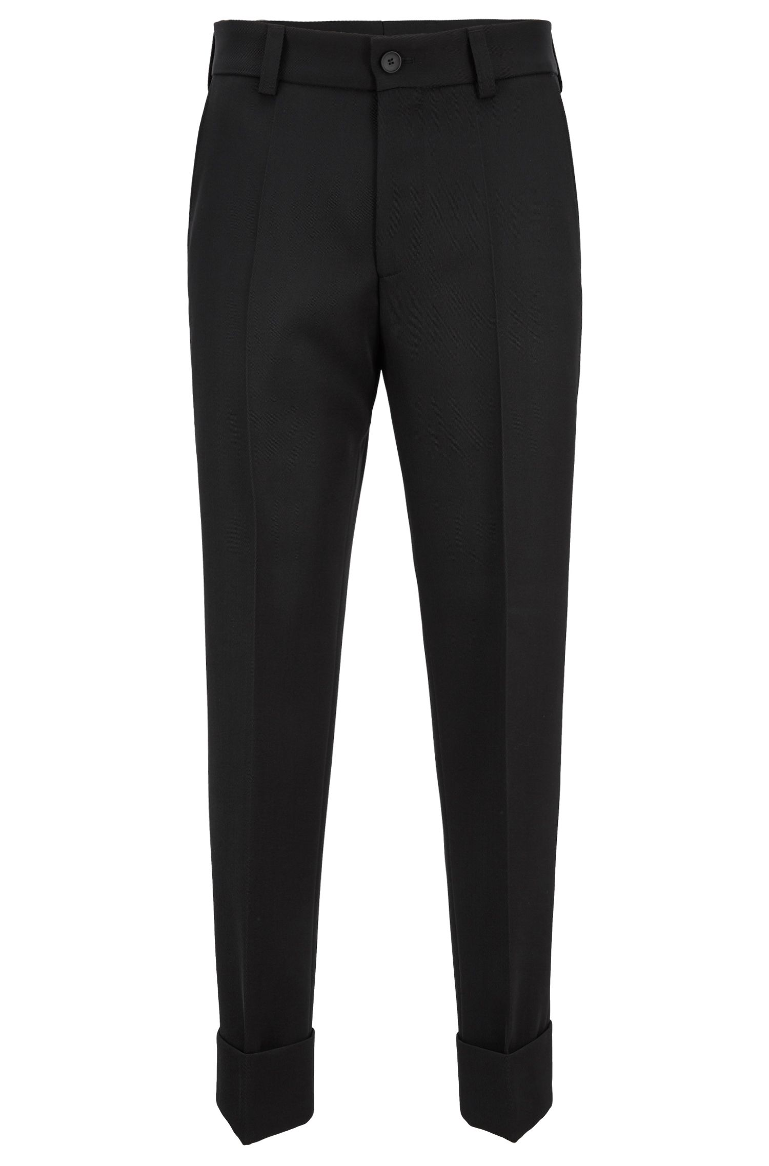 Relaxed-fit cropped pants in virgin wool, Black