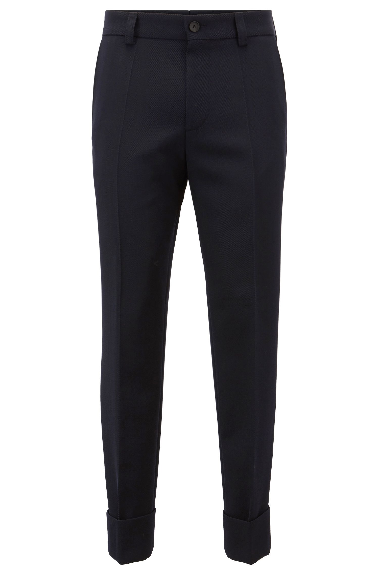 Relaxed-fit cropped pants in virgin wool, Open Blue
