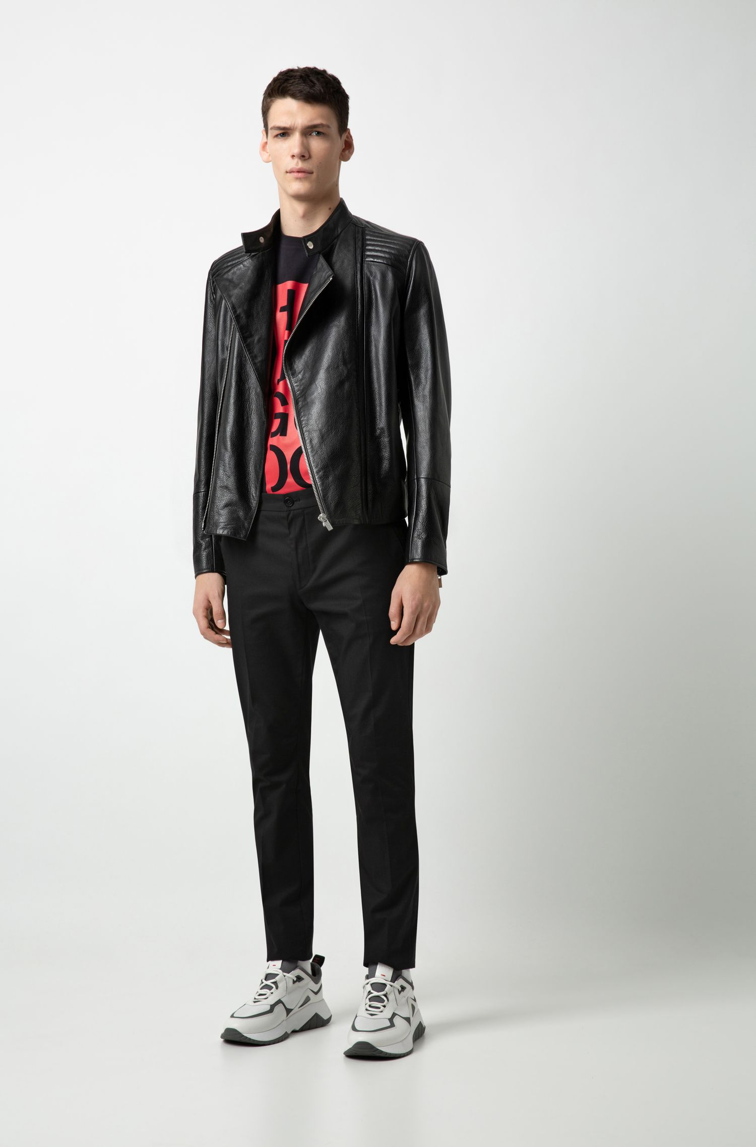 Leather jacket with quilted shoulders and asymmetric zipper, Black